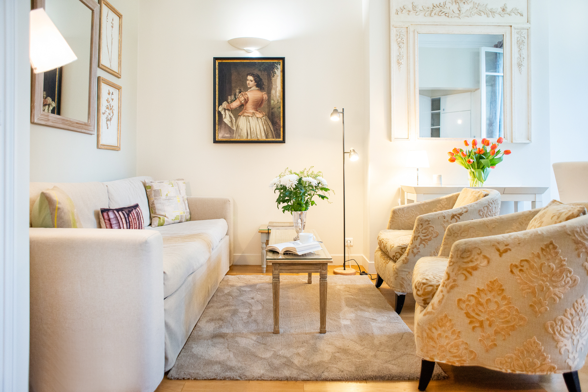 Sitting area in the Corent apartment by Paris Perfect