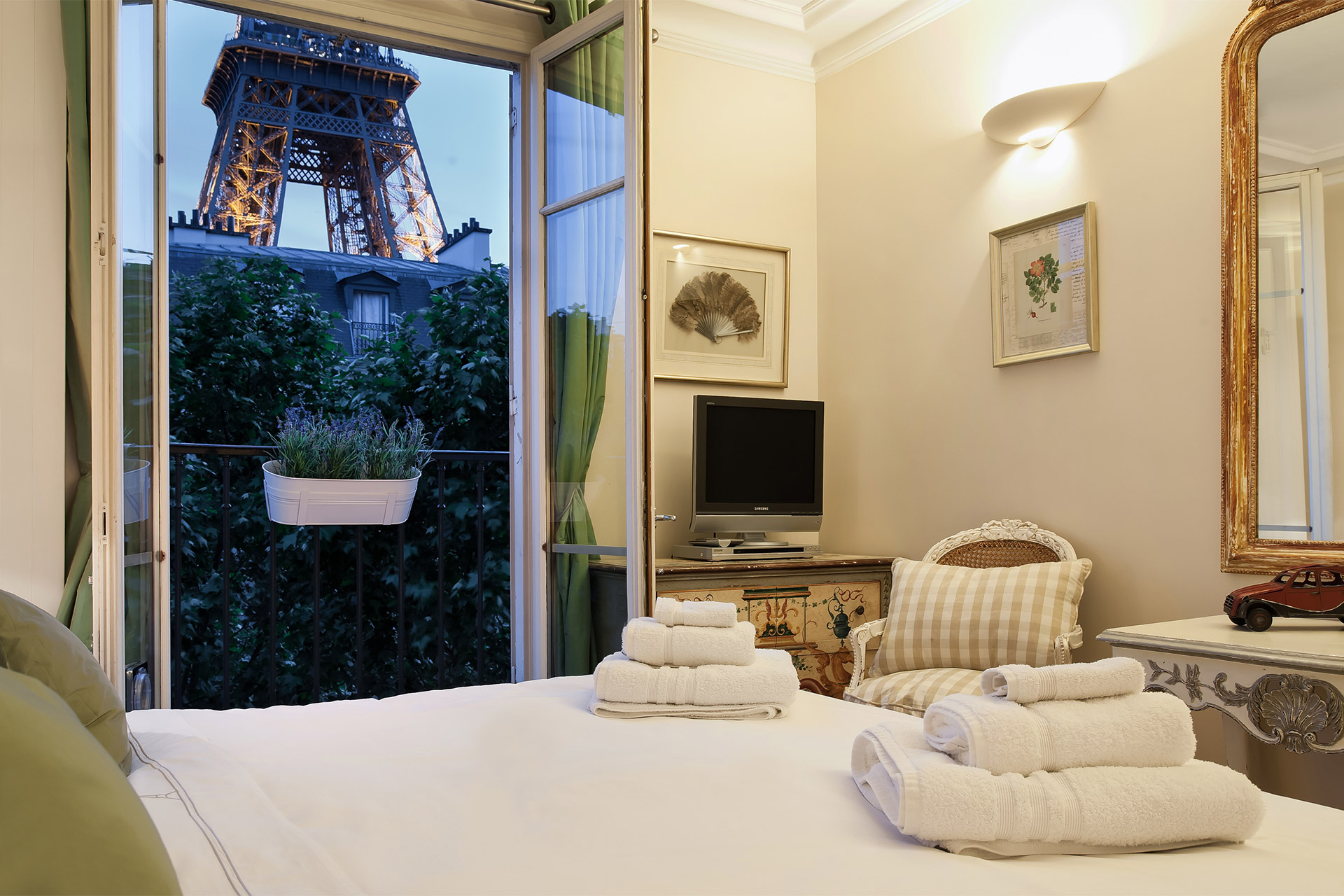 Eiffel Tower view from master bedroom
