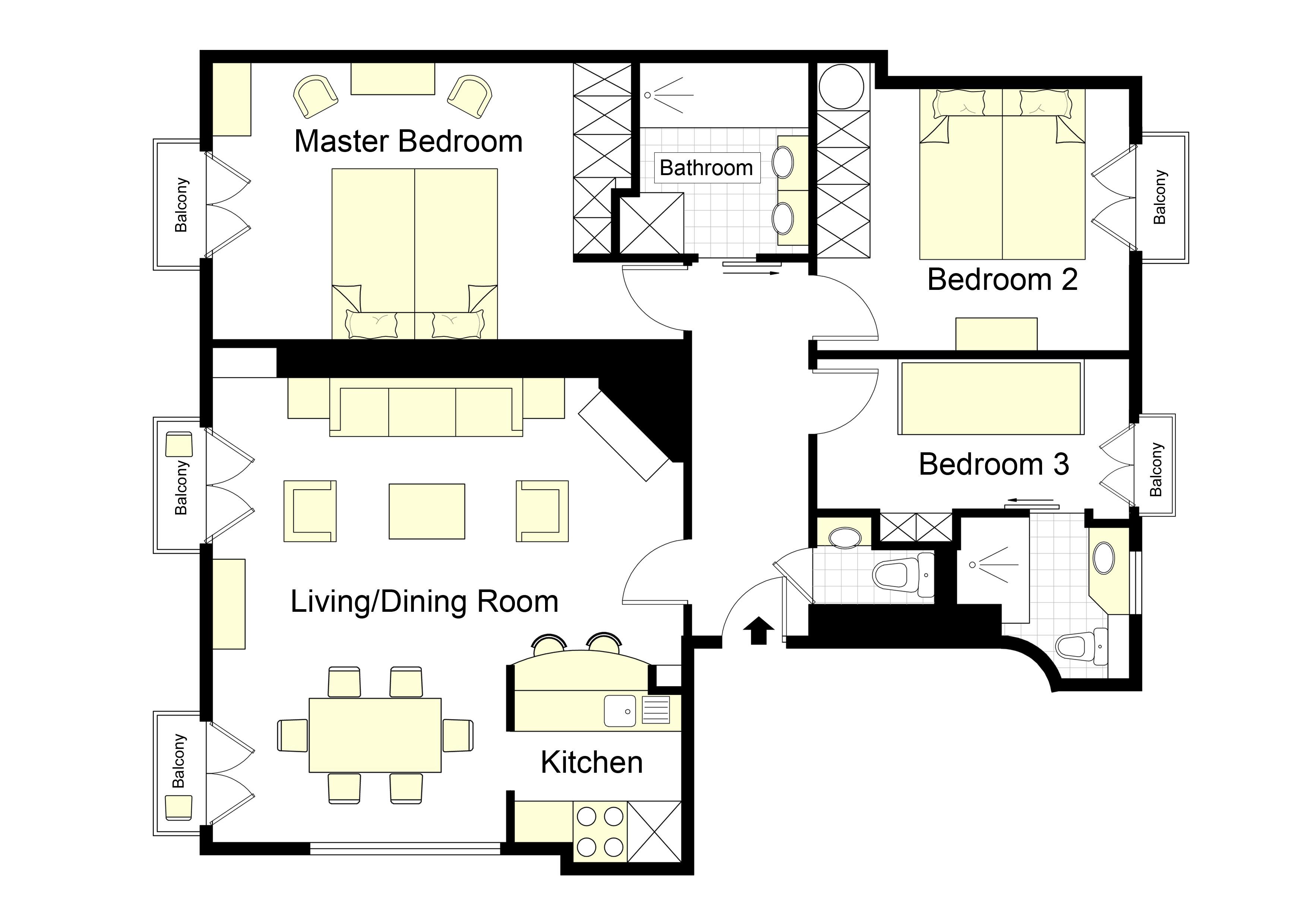 Floorplan of our 3 Bedroom Bergerac Apartment Rental in Paris