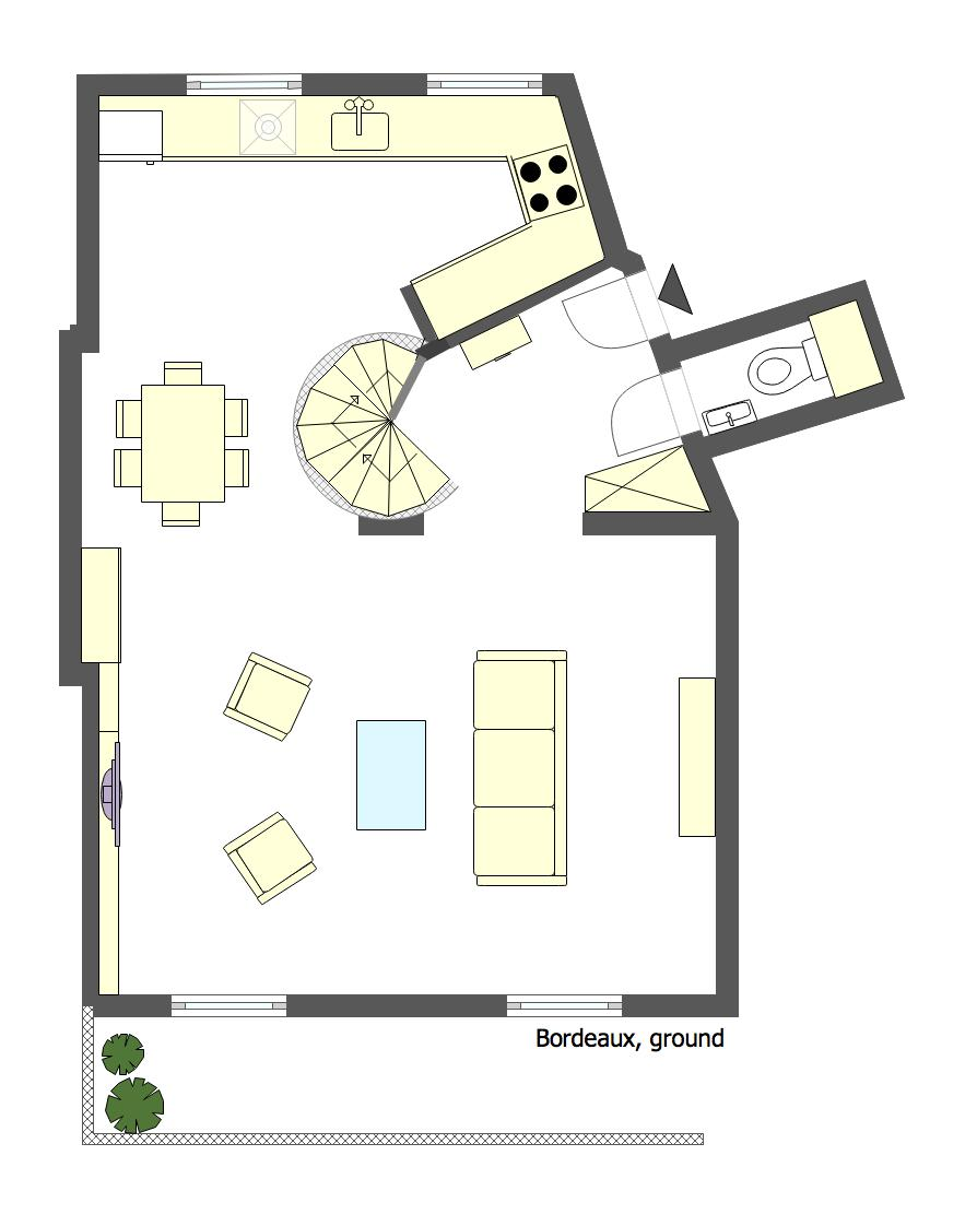 Floorplan of the lower floor of the Bordeaux vacation rental by Paris Perfect
