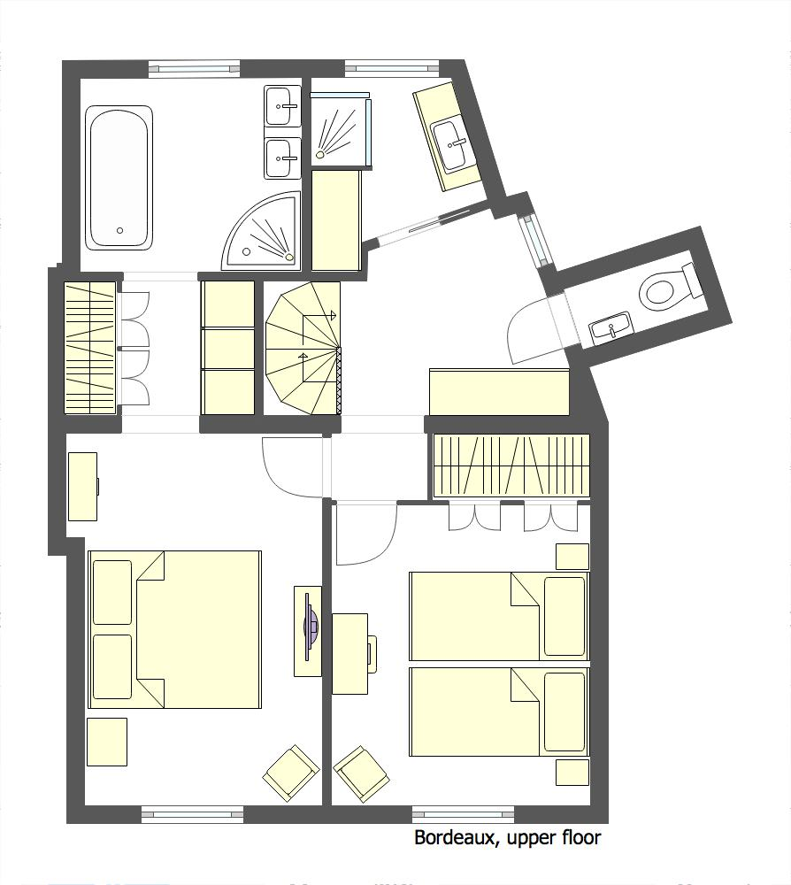 Floorplan of the upper floor of the Bordeaux vacation rental by Paris Perfect