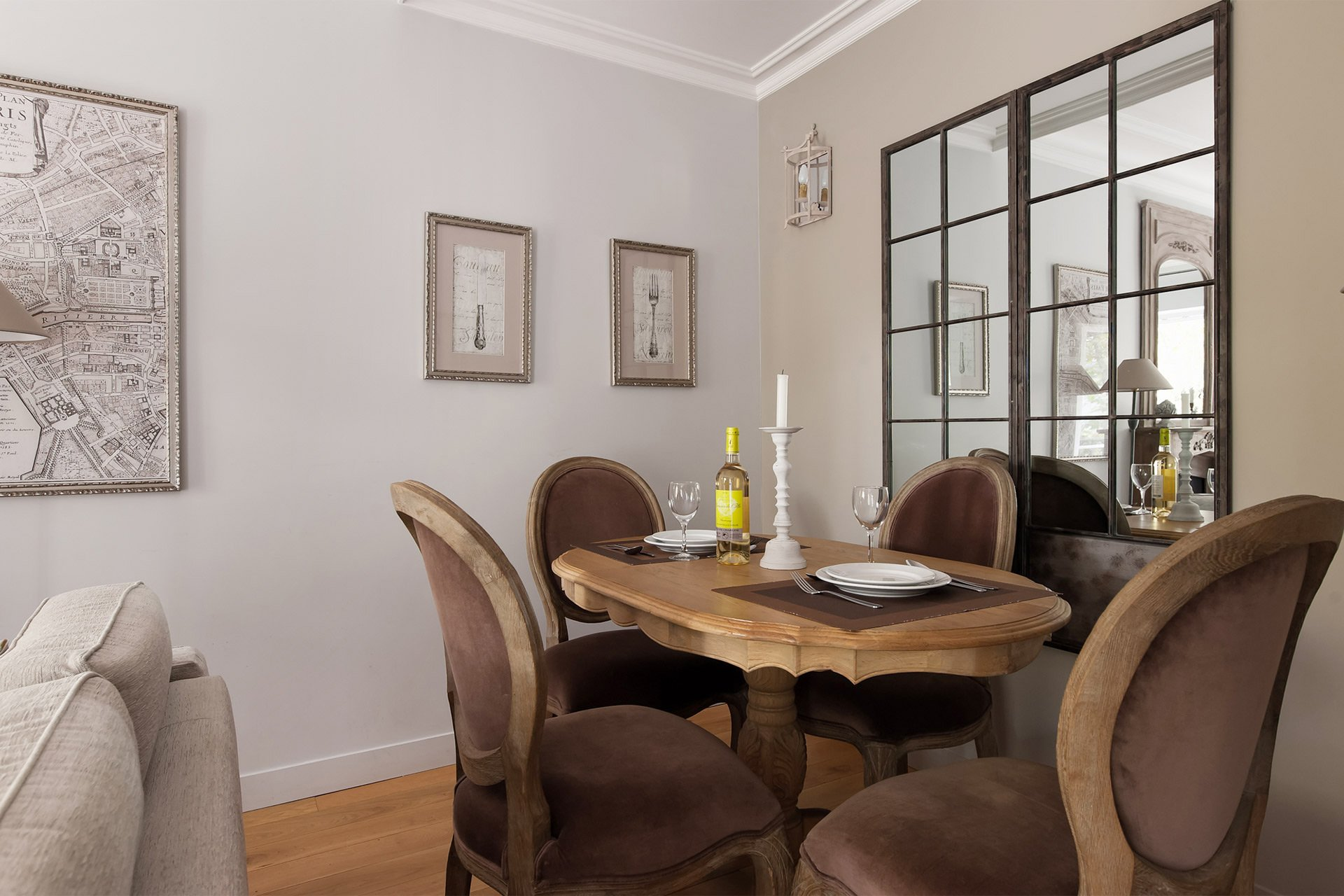 Dining table for four in the Chambertin vacation rental offered by Paris Perfect