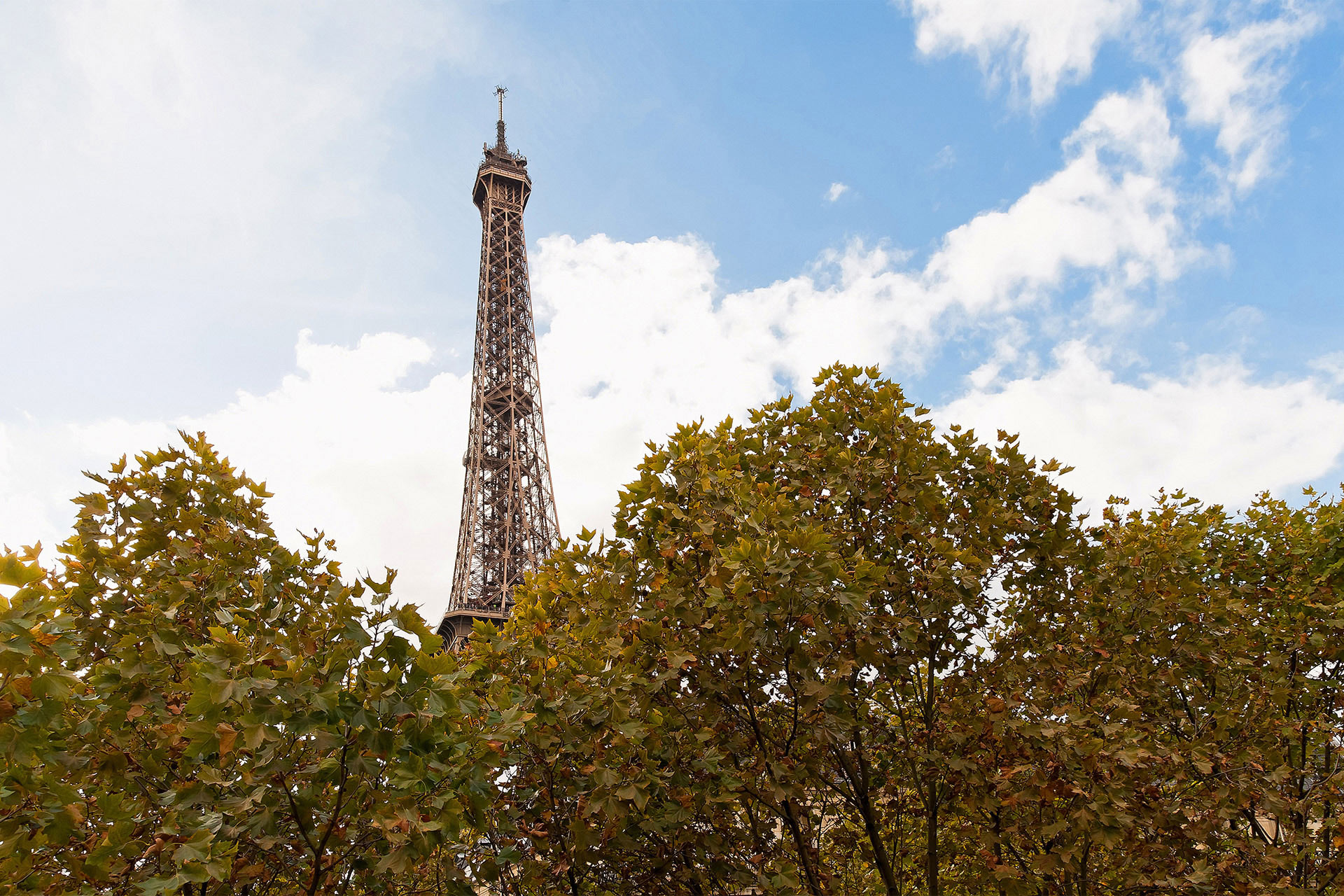 Daytime Eiffel Tower view from the Chambertin vacation rental offered by Paris Perfect