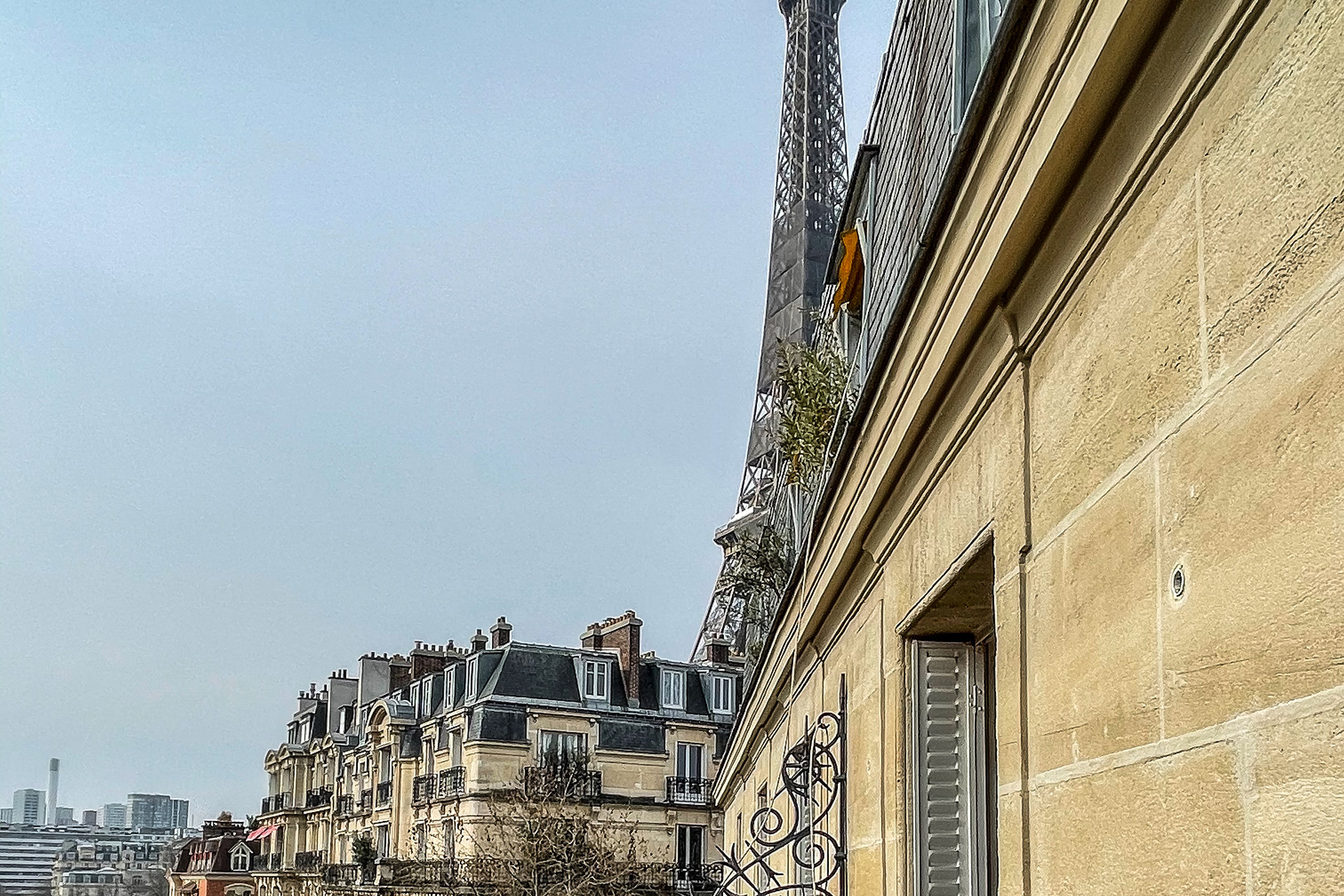 View of the Eiffel Tower from the balcony.