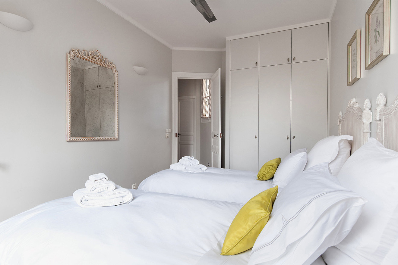 Plenty of storage in the second bedroom of the Cognac vacation rental offered by Paris Perfect