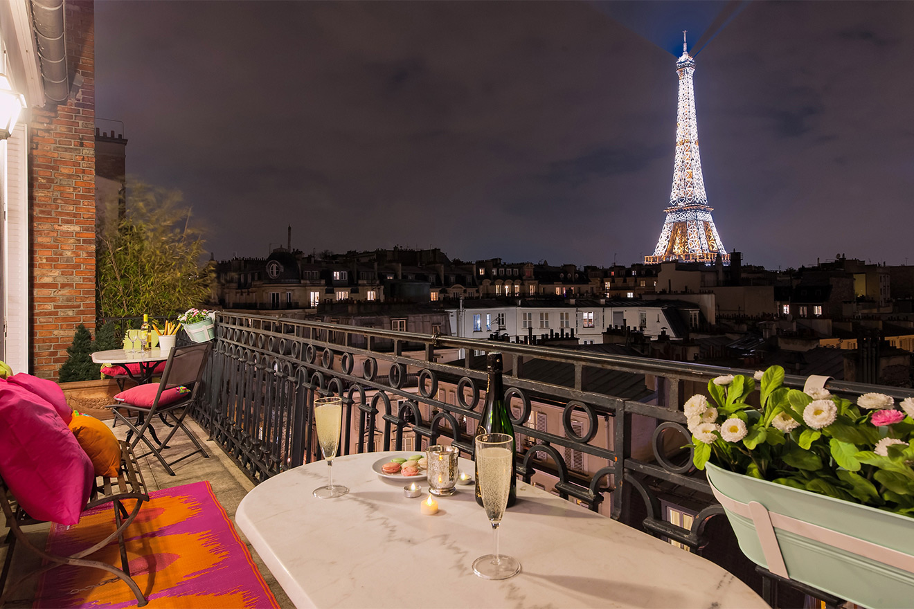 Step onto the balcony of the Cognac vacation rental offered by Paris Perfect