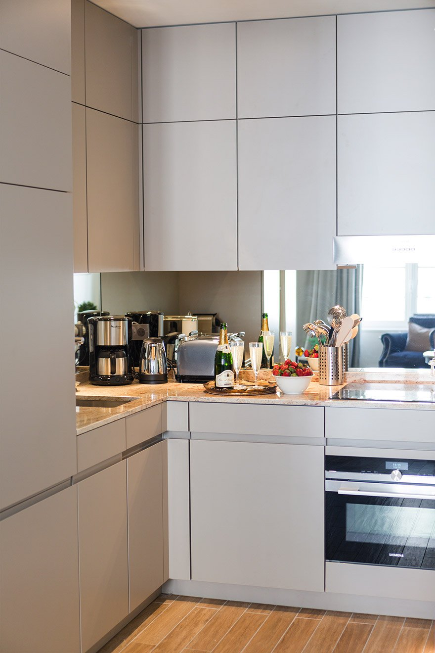 Modern kitchen of the Castillon vacation rental offered by Paris Perfect