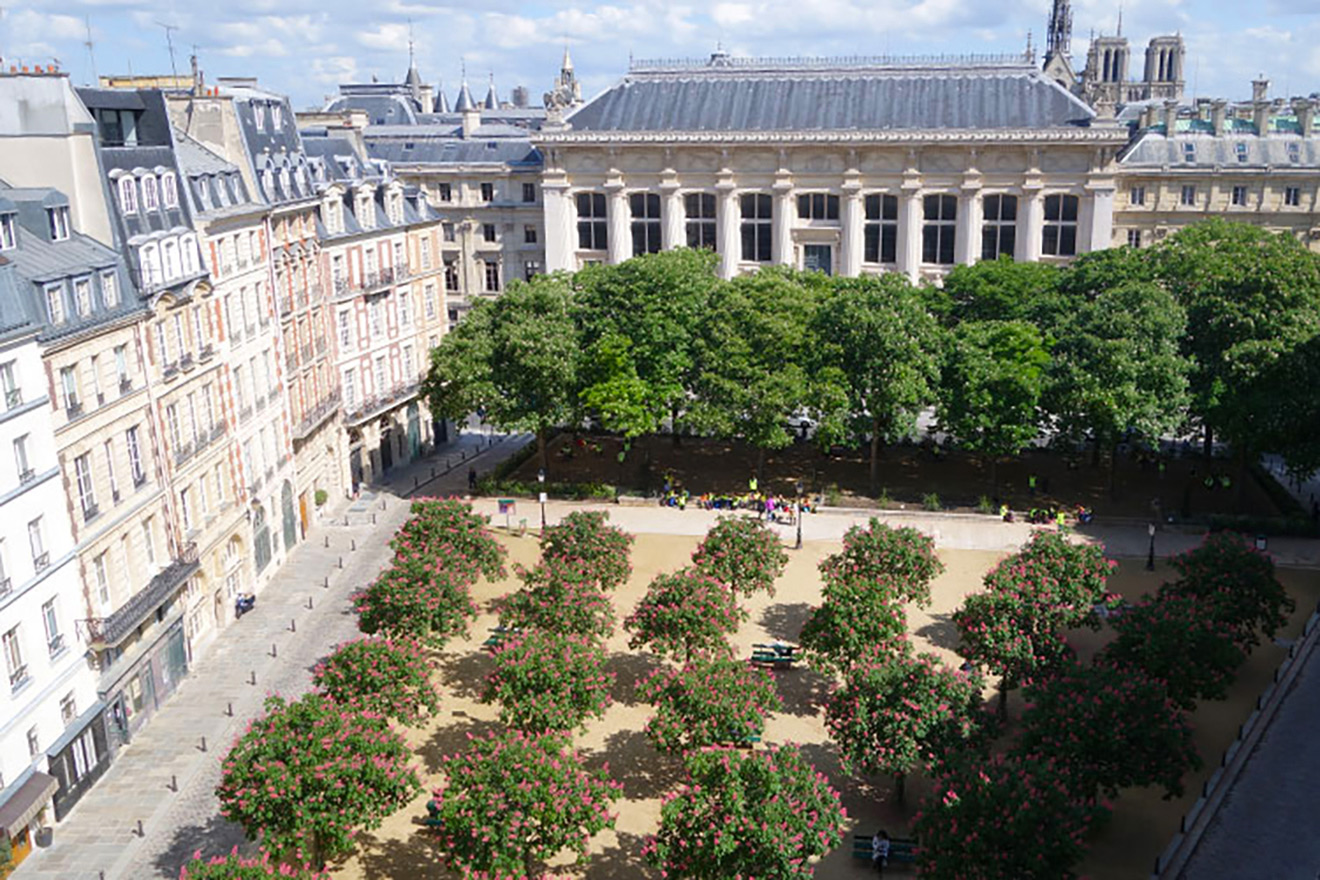 Incredible view overlooking beautiful Place Dauphine from the Monbazillac vacation rental offered by Paris Perfect