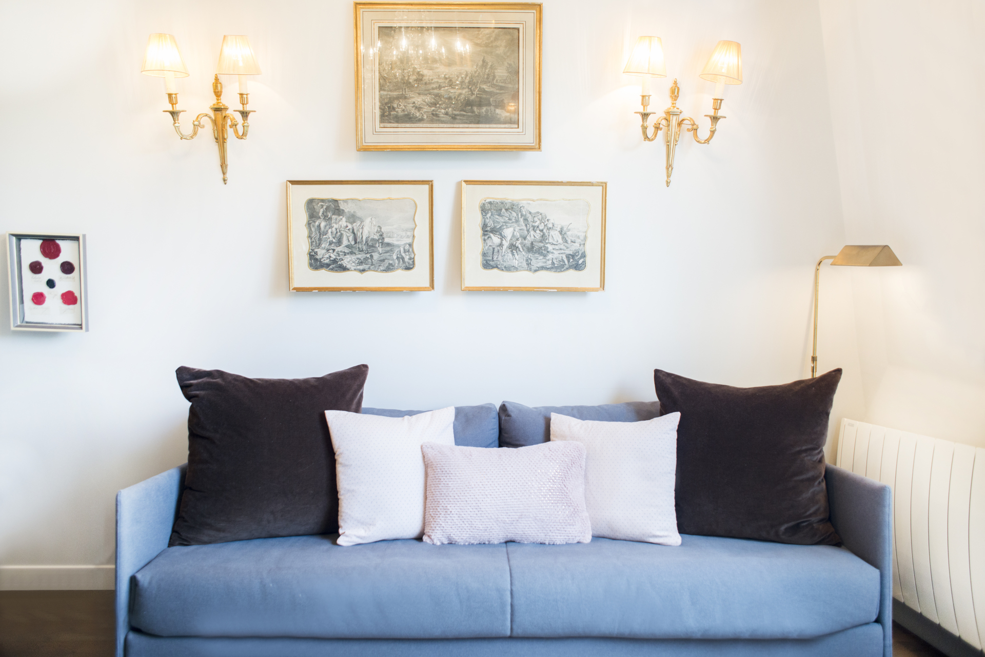 Italian luxury couch with memory foam mattress in the Cremant Paris Perfect vacation rental