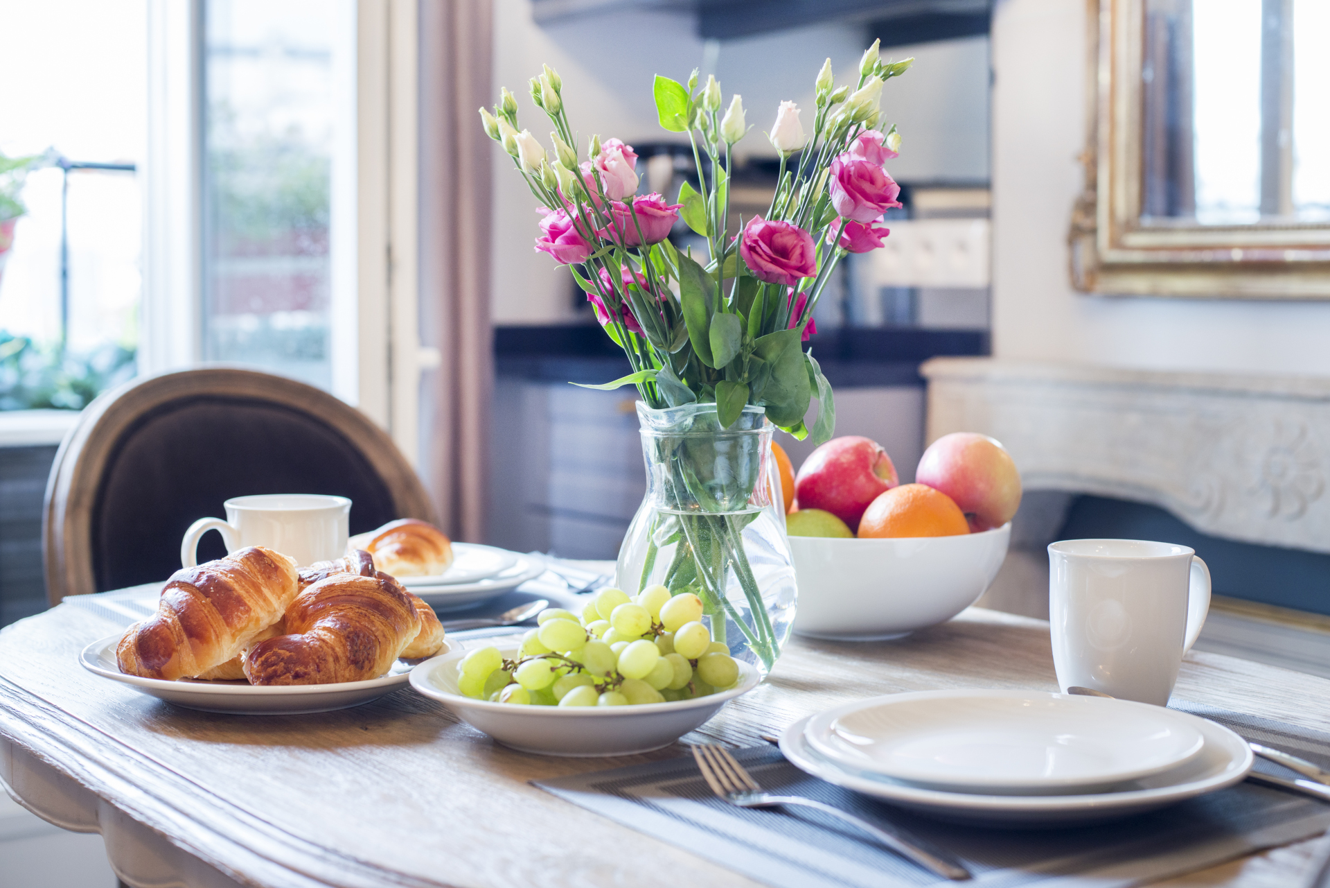 The perfect Parisian breakfast every morning in the Cremant vacation rental