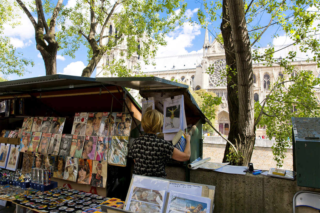 Booksellers along the Seine river