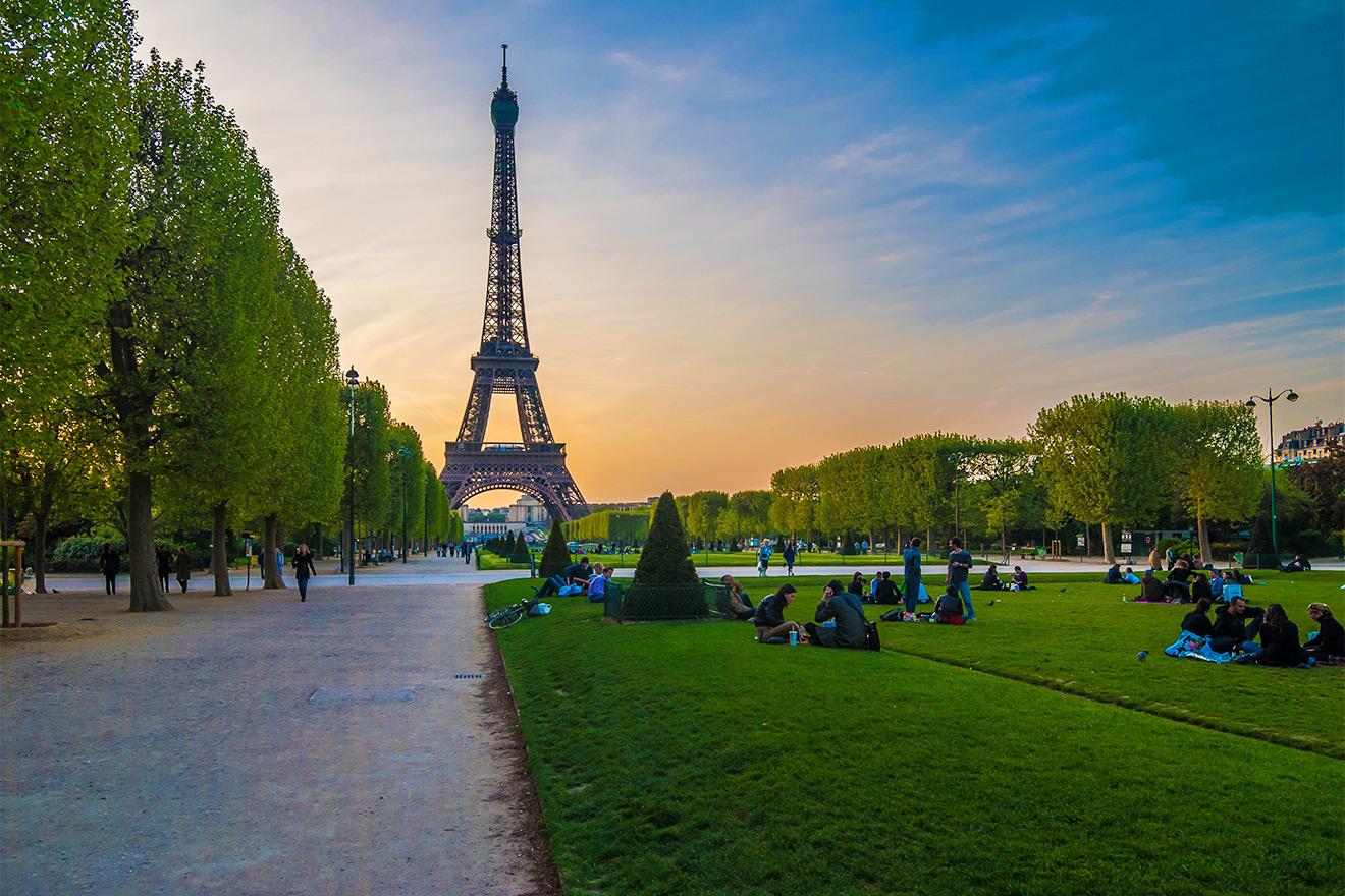 Eiffel Tower and Champ de Mars Park