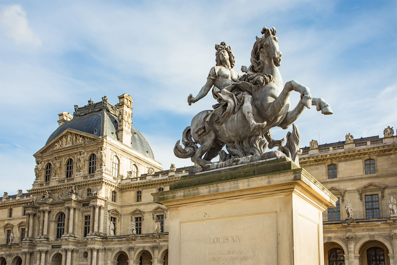Statue outside the Louvre Museum in Paris
