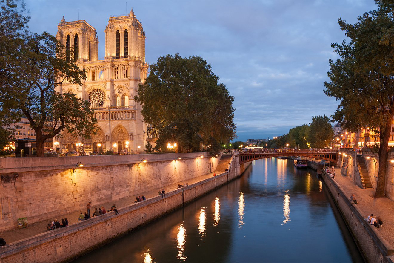 Romantic evening along Seine riverbank