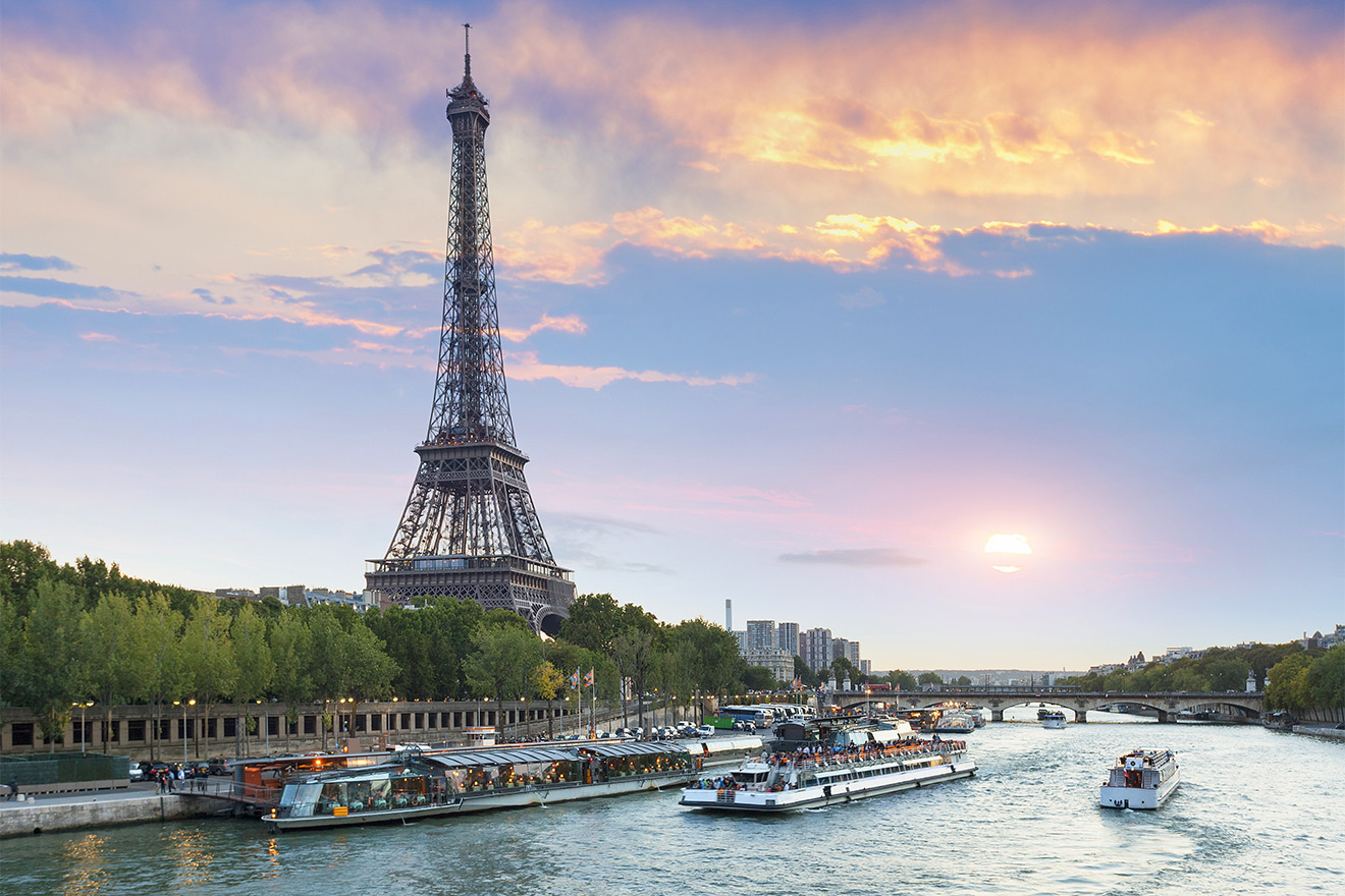 View of the Eiffel Tower and River Seine