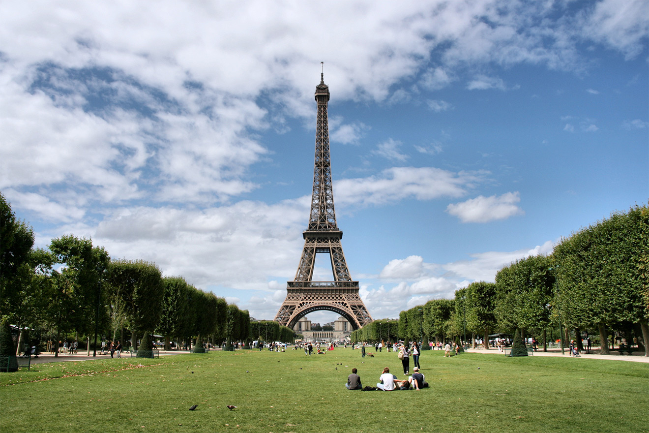 The Eiiffel Tower and Champ de Mars park in Paris