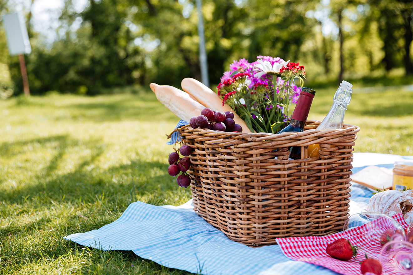 Picnic basket in Champ de Mars Park in Paris