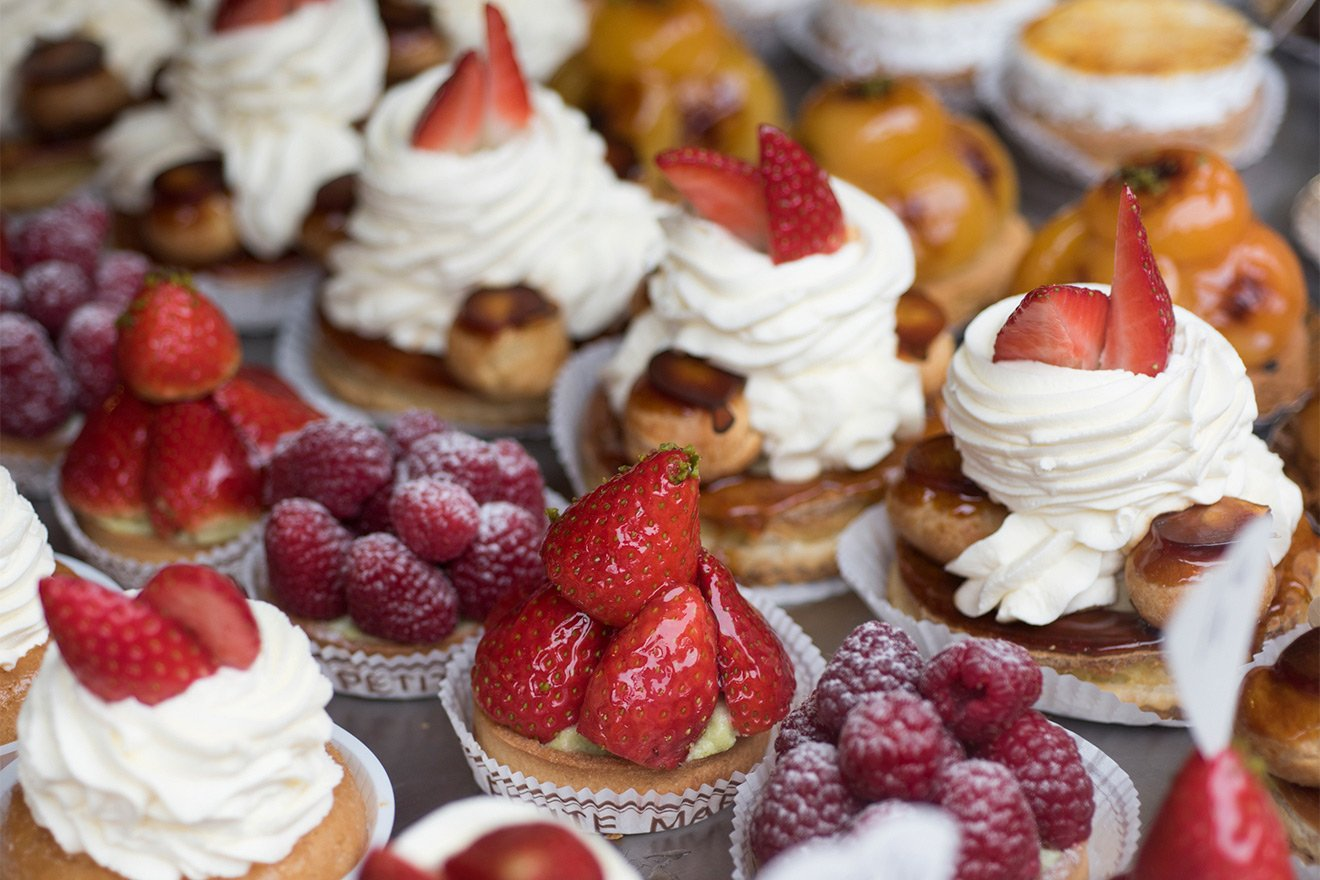 Delicious French pastries in Paris