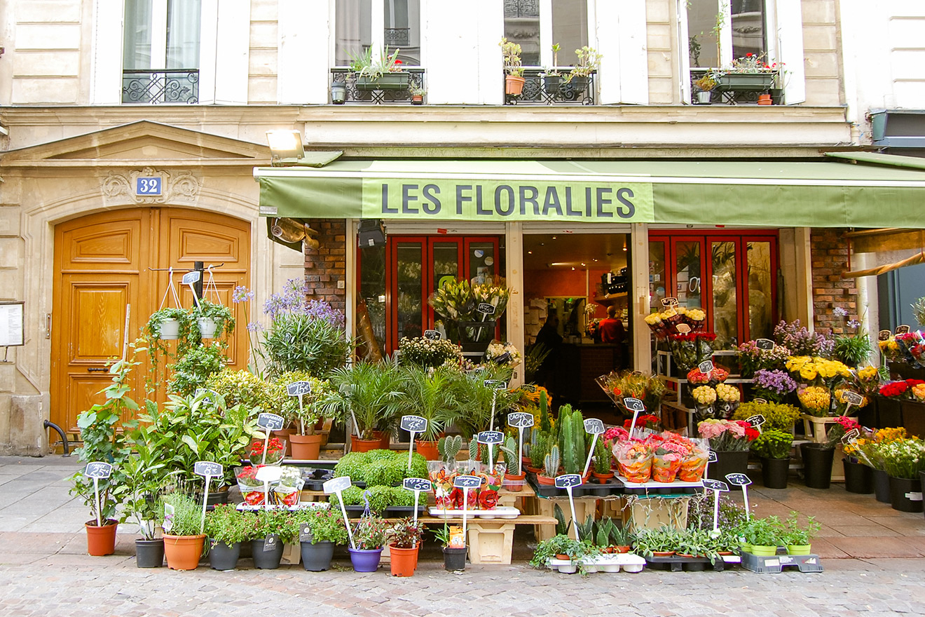 Flowers at the Florist on Rue Cler Paris
