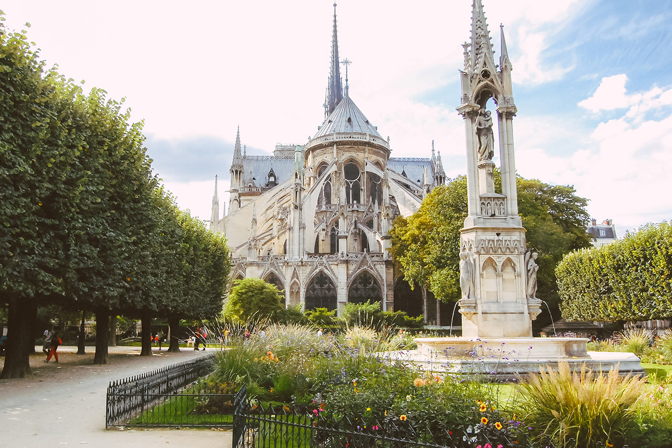 Wander the gardens at Notre Dame