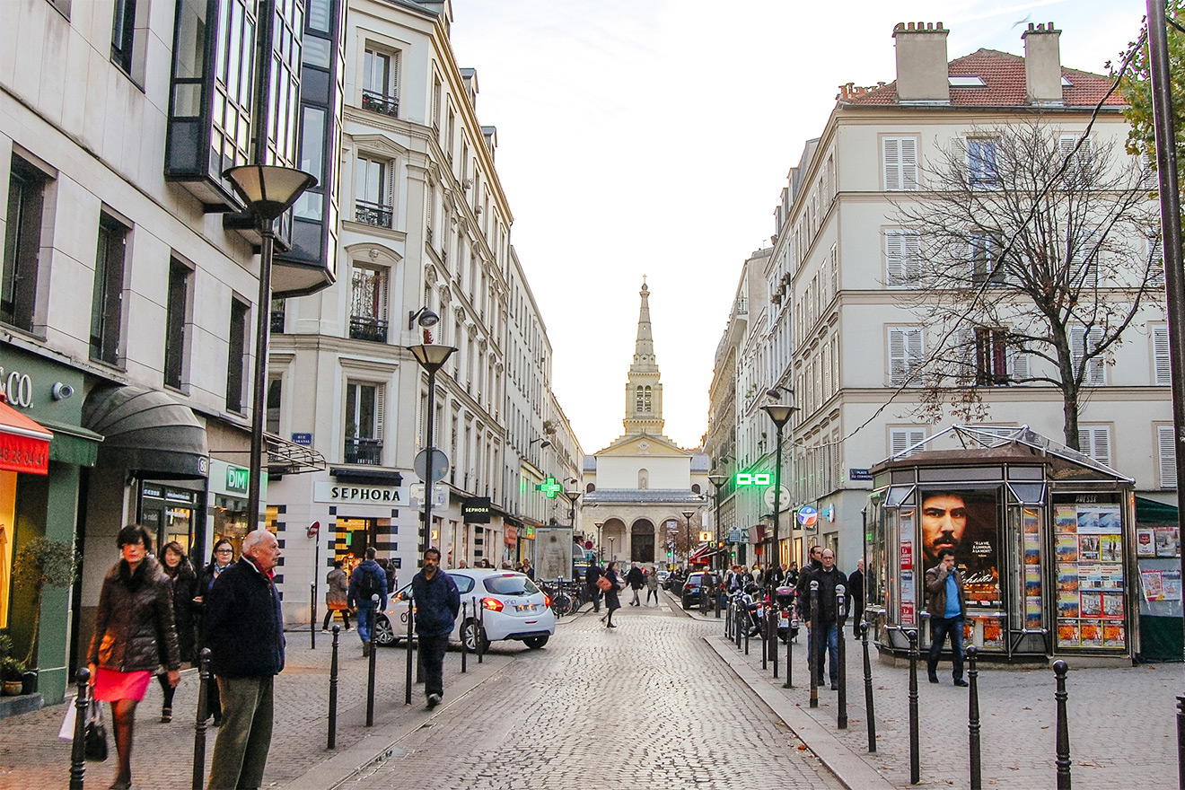Shop alongside Parisians at the nearby rue du Commerce