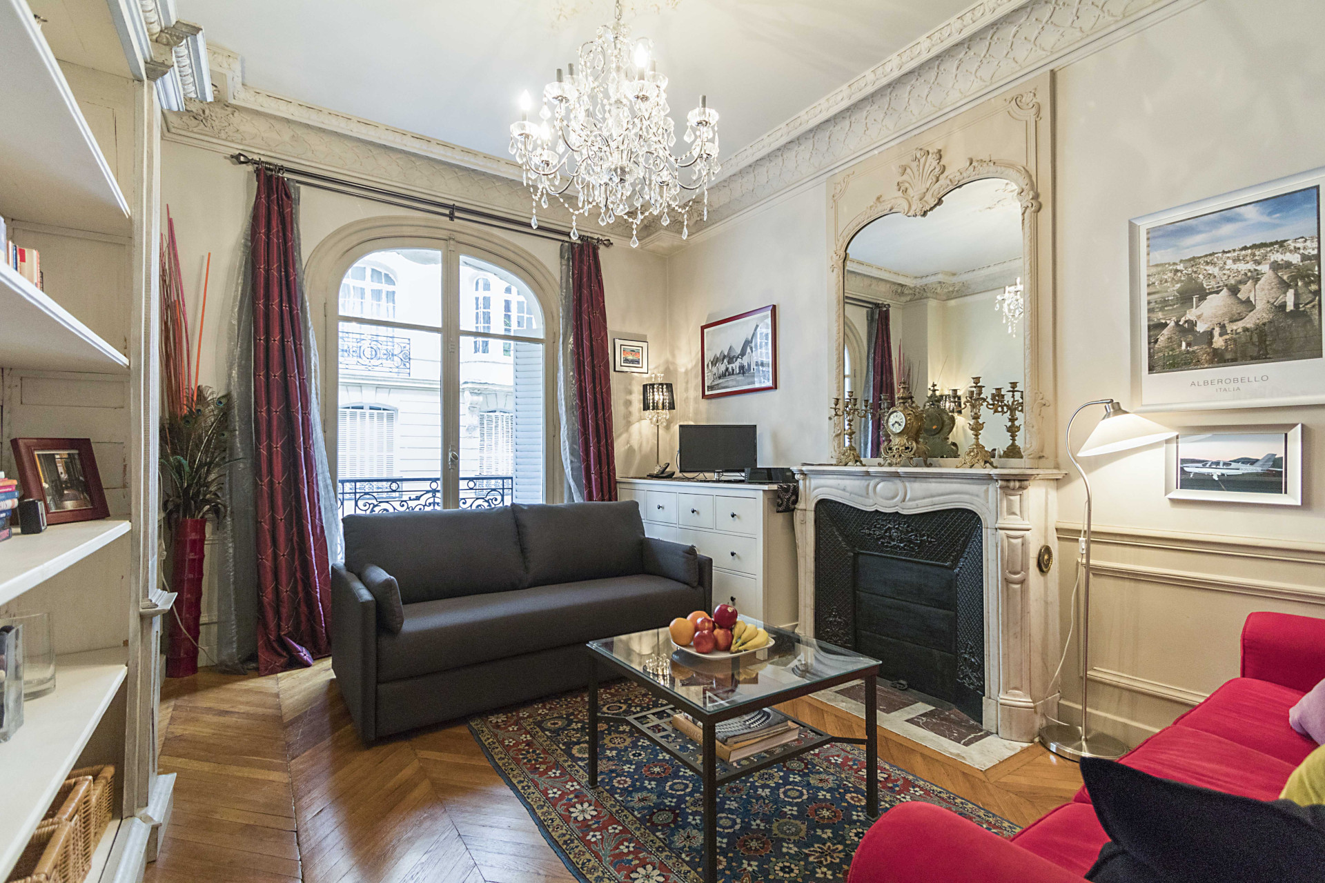 The spacious living area has plenty of room to relax in the Roannaise vacation rental by Paris Perfect