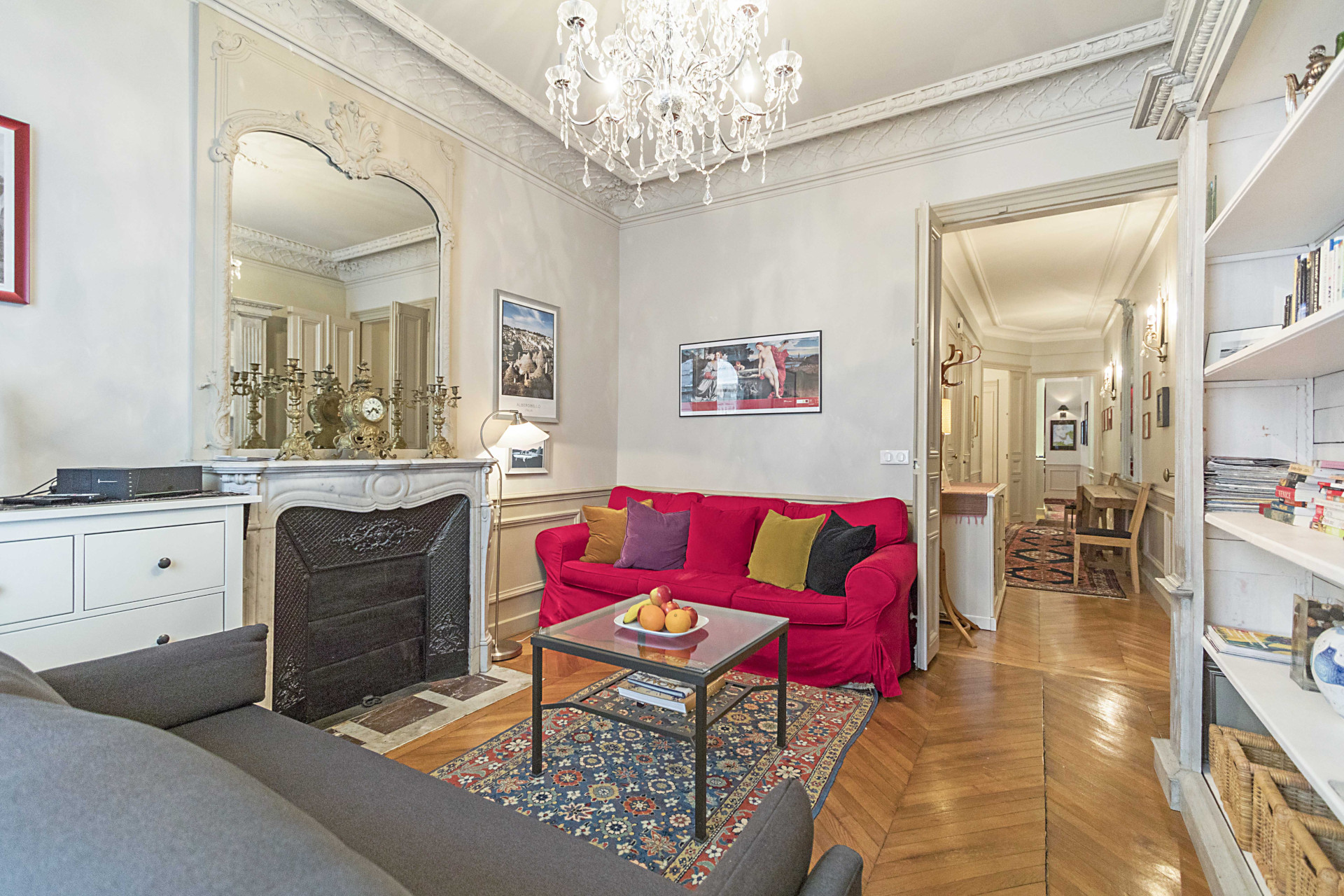 The comfortable and inviting living room with two sofas in the Roannaise vacation rental by Paris Perfect