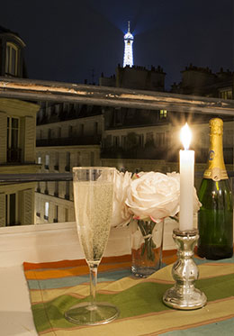 The magical Eiffel Tower light show from the Pomerol vacation rental offered by Paris Perfect