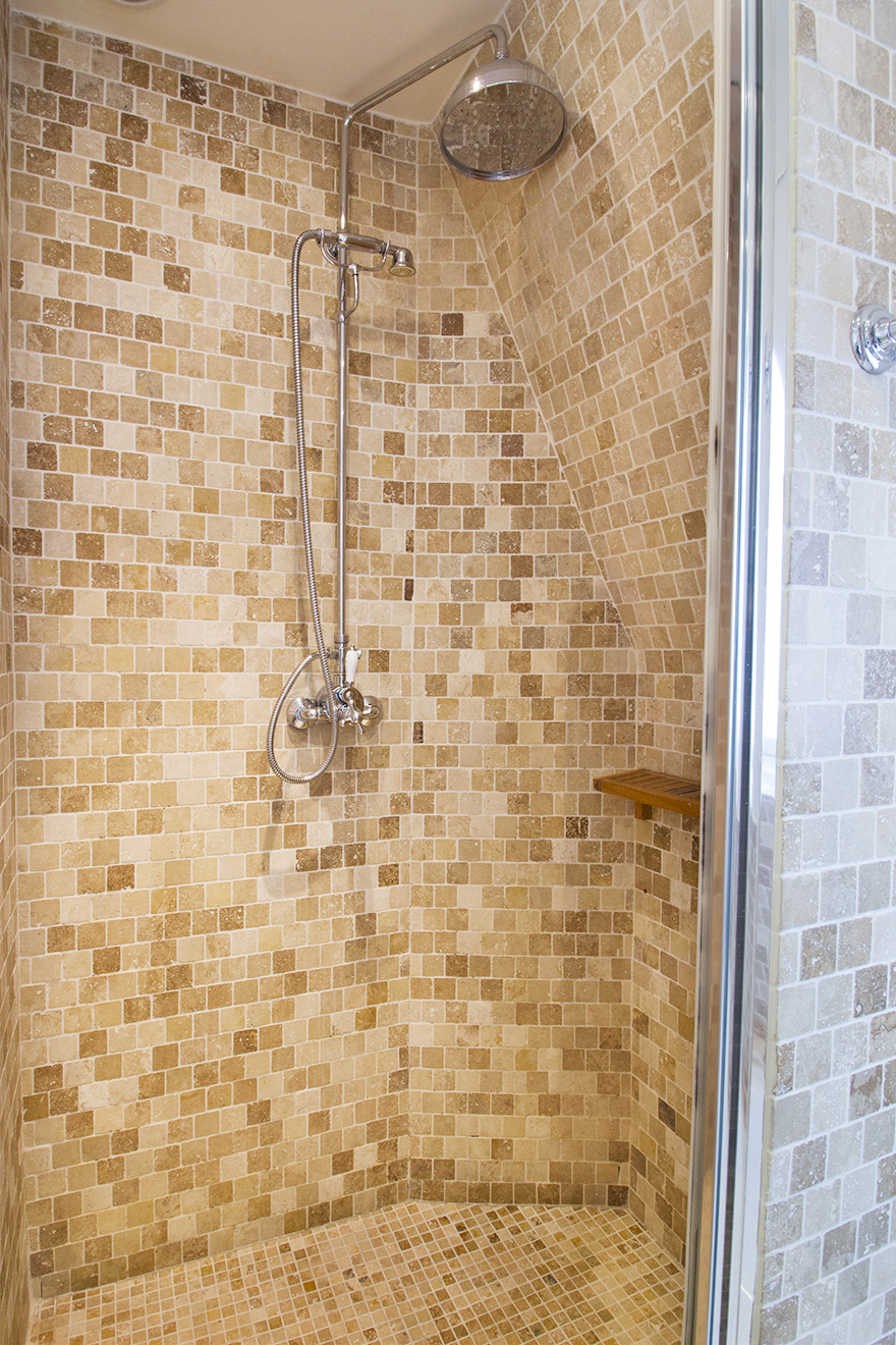 Glass-enclosed Shower in the Chablis vacation rental offered by Paris Perfect