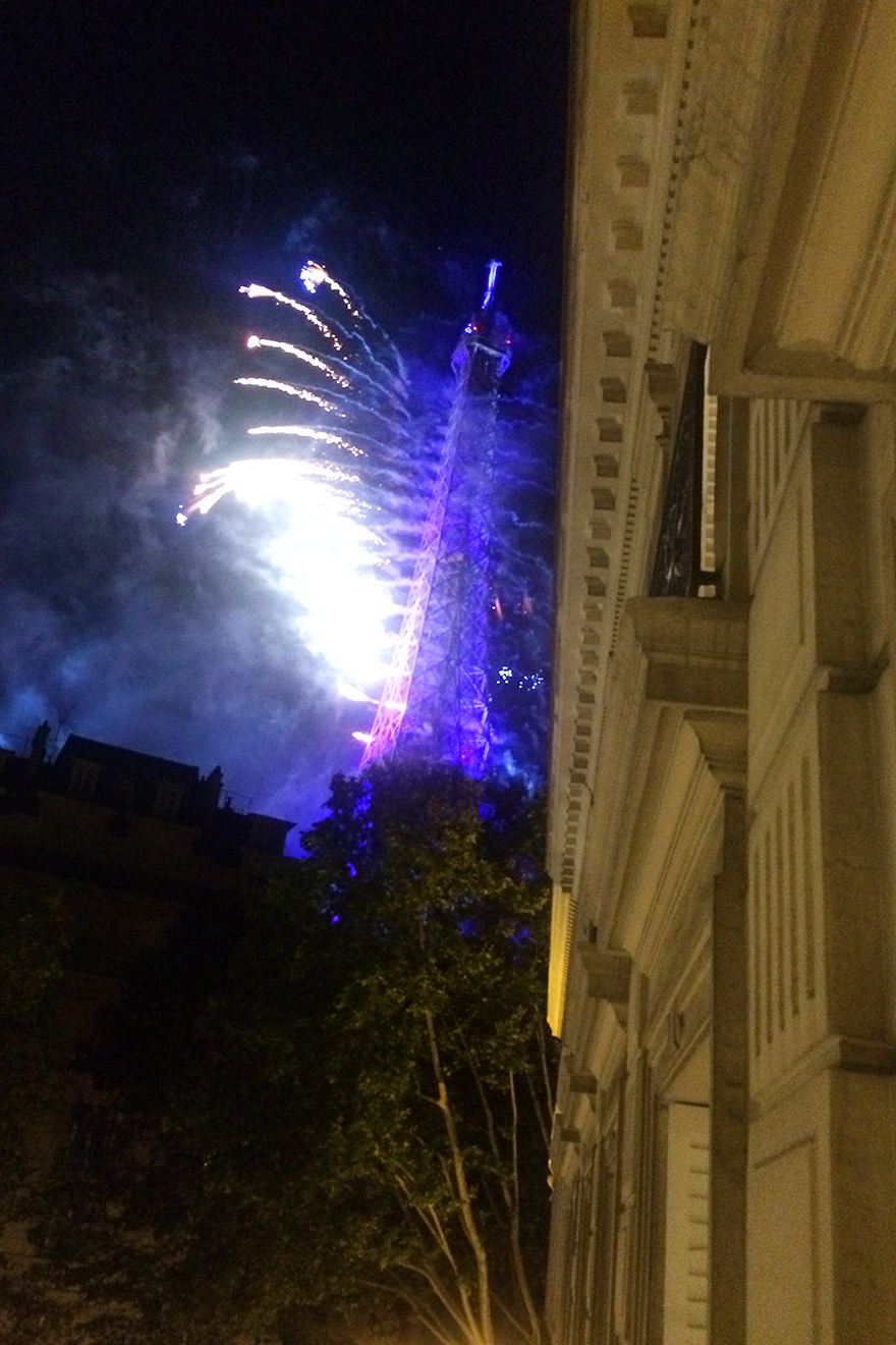 Fireworks on Bastille Day as seen from the Montagny vacation rental offered by Paris Perfect