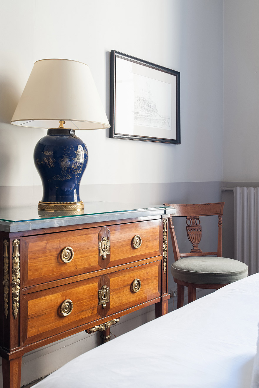Antique dresser in the bedroom of the Mâcon vacation rental offered by Paris Perfect