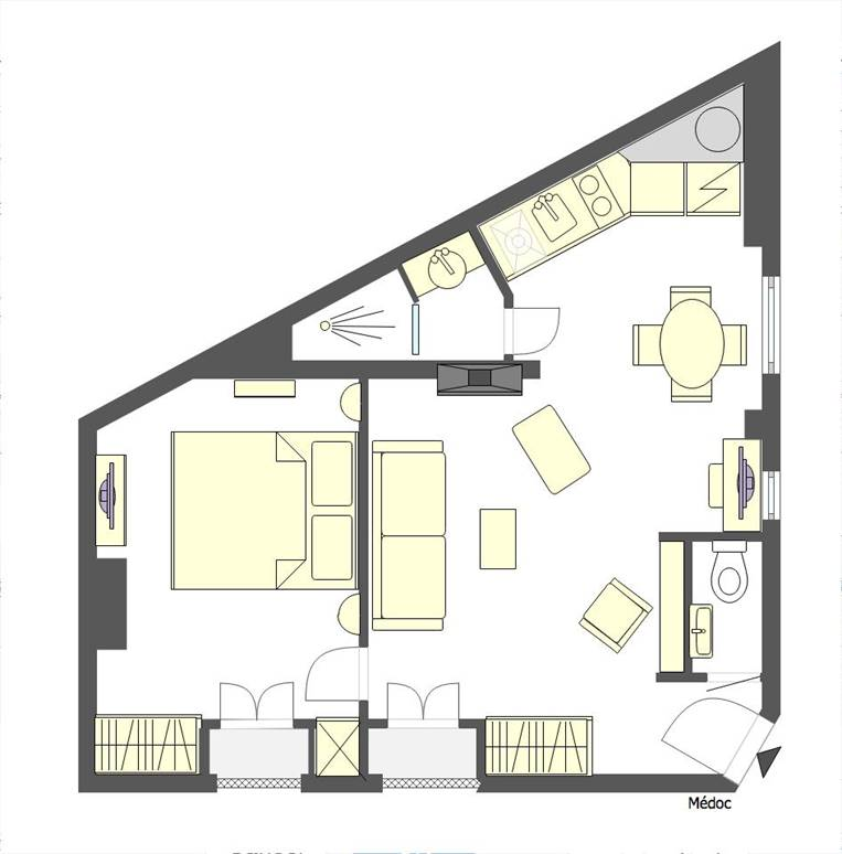 Floorplan of the charming Médoc Paris apartment