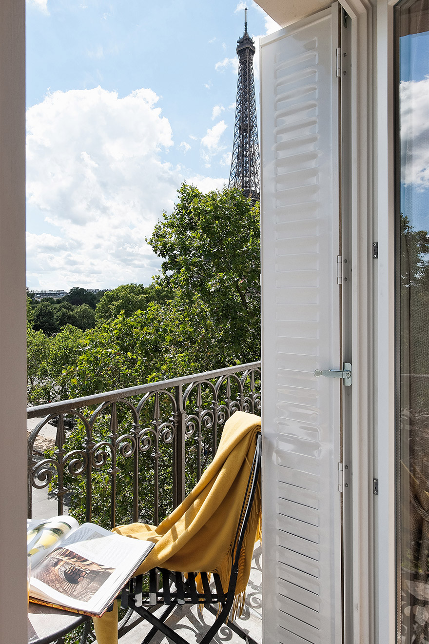 Start the day off relaxing on the balcony of the Merlot vacation rental offered by Paris Perfect