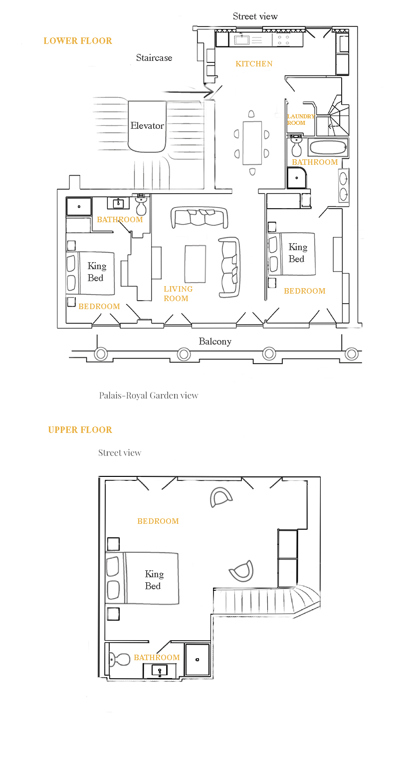 Floorplan of the Chevalier vacation rental offered by Paris Perfect