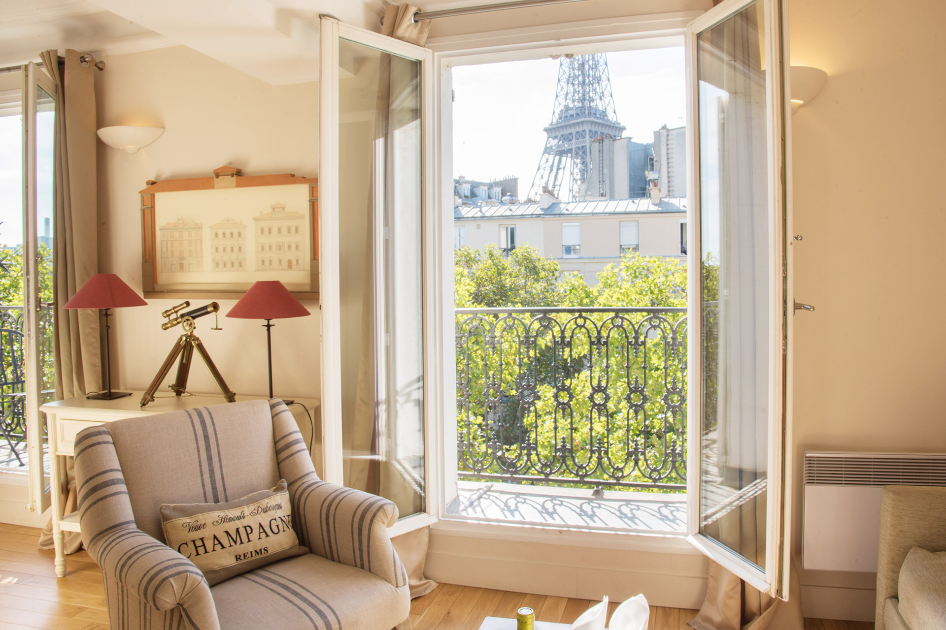 Sit back and relax with this view of the Eiffel Tower from the Cabernet vacation rental offered by Paris Perfect