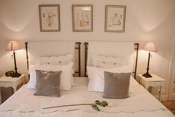 Beautifully decorated Parisian style bedroom of the Cabernet vacation rental offered by Paris Perfect