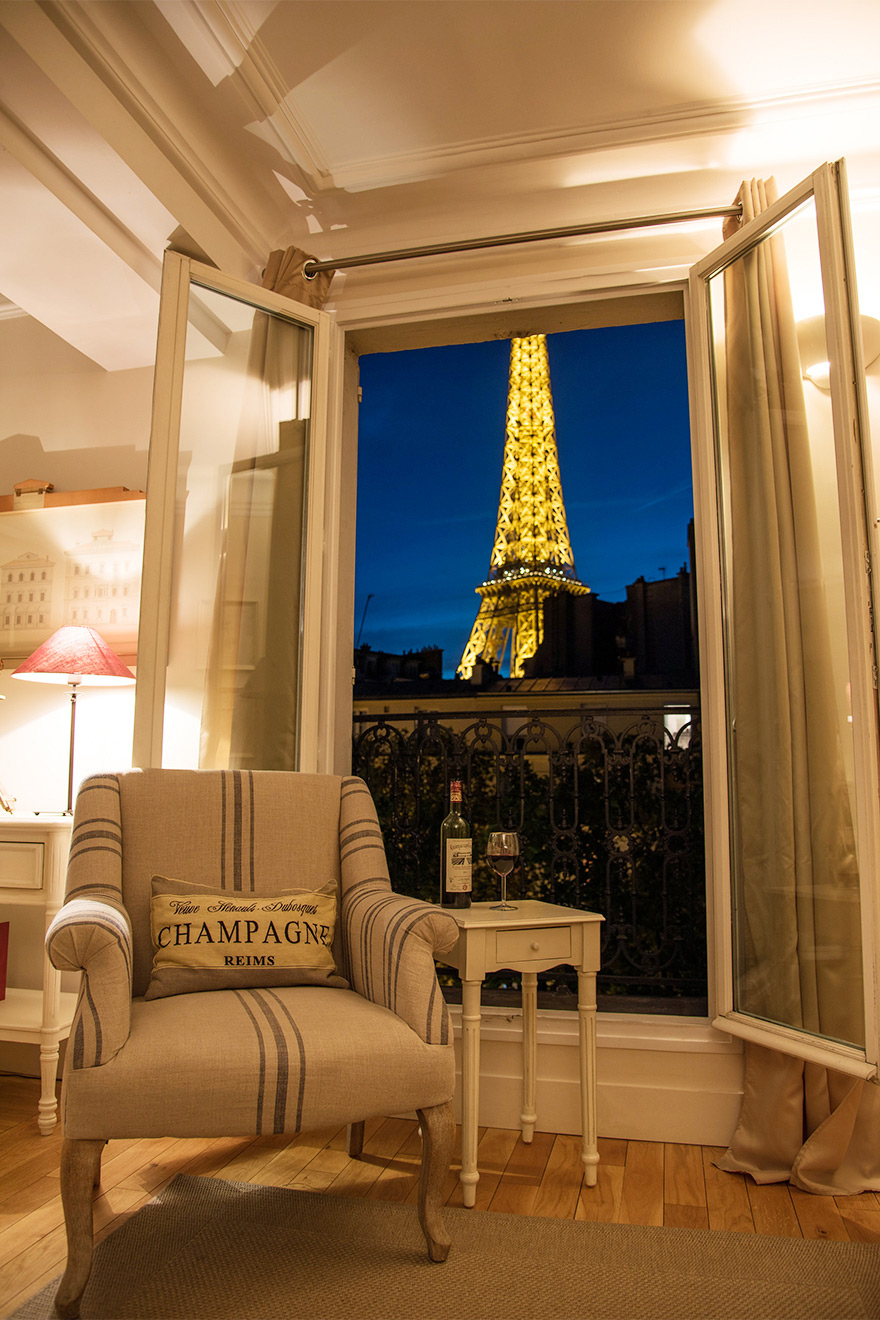 Stunning night view of the Eiffel Tower from the Cabernet vacation rental offered by Paris Perfect