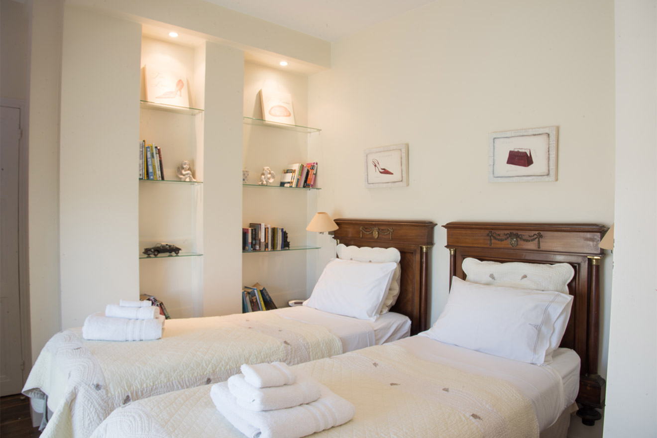 Bedroom 2 with two beds in the Chateau Latour vacation rental by Paris Perfect