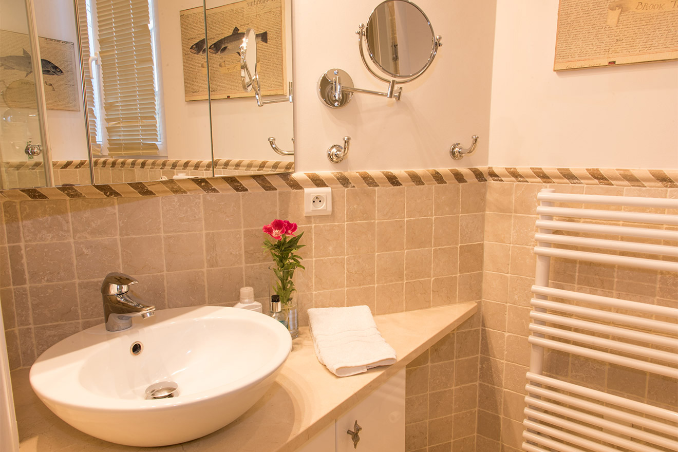 Bathroom 2 with heated towel racks in the Chateau Latour vacation rental by Paris Perfect