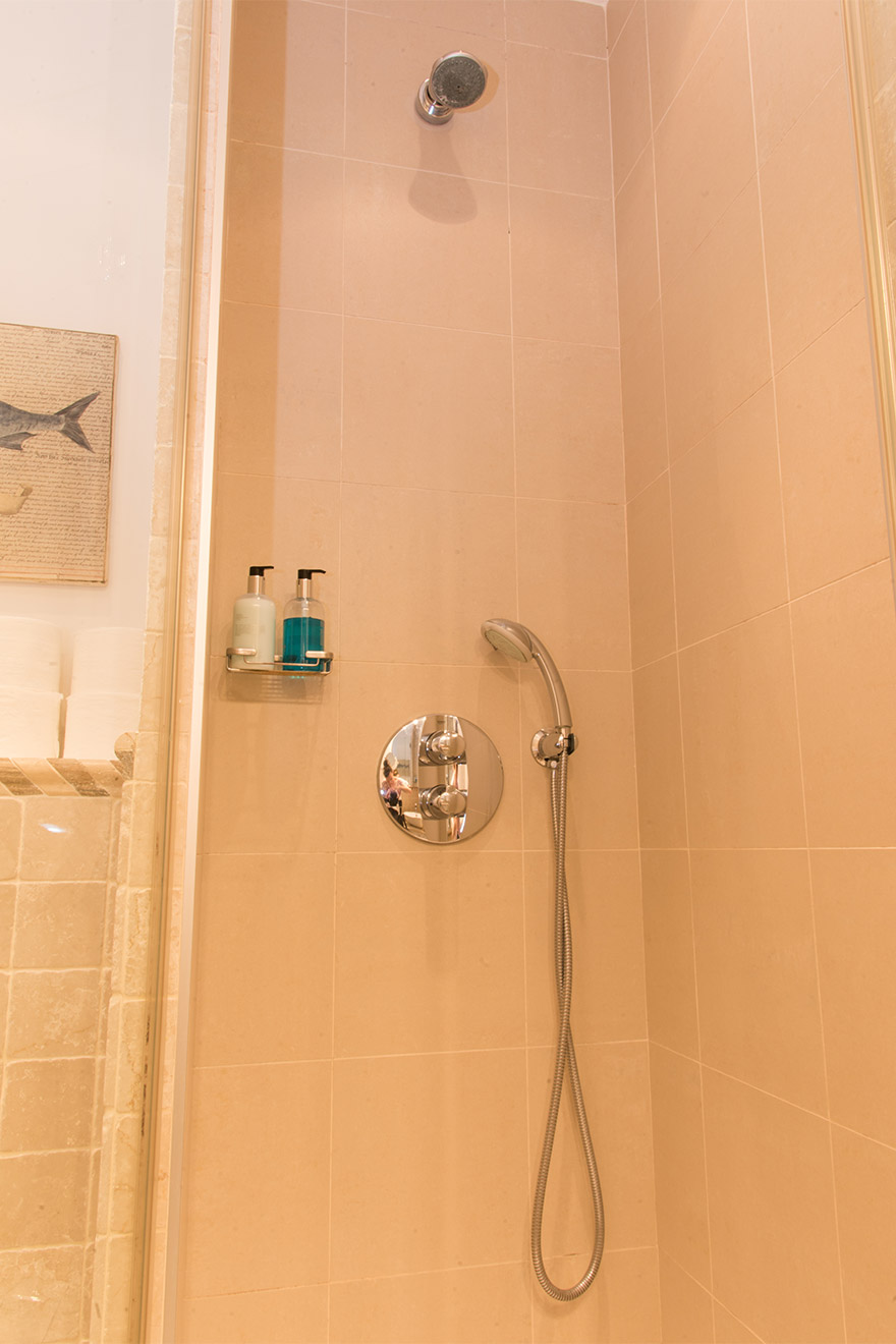 Shower in bathroom 2 in the Chateau Latour vacation rental by Paris Perfect