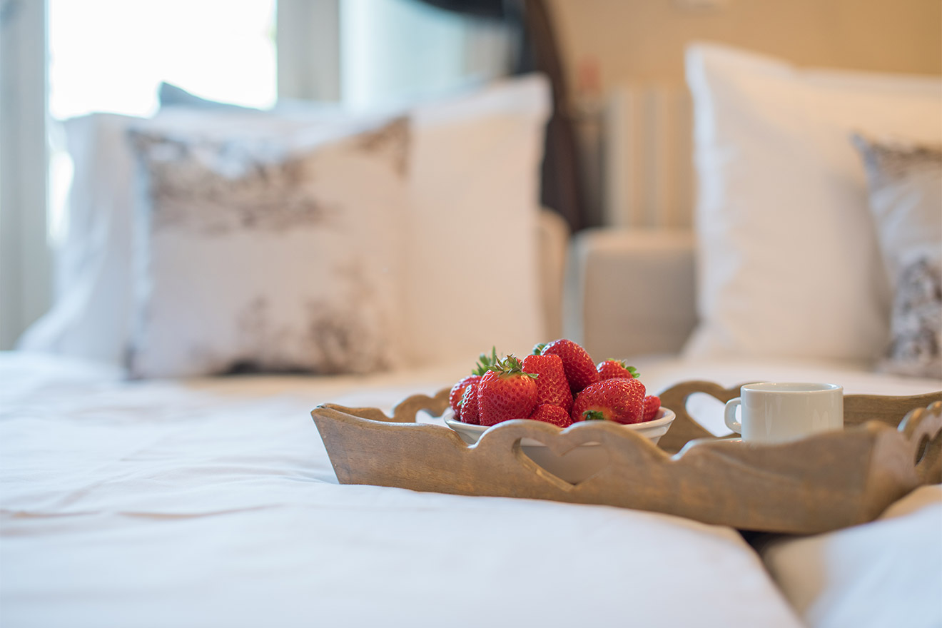 Breakfast in bed at the Chateau Latour vacation rental by Paris Perfect