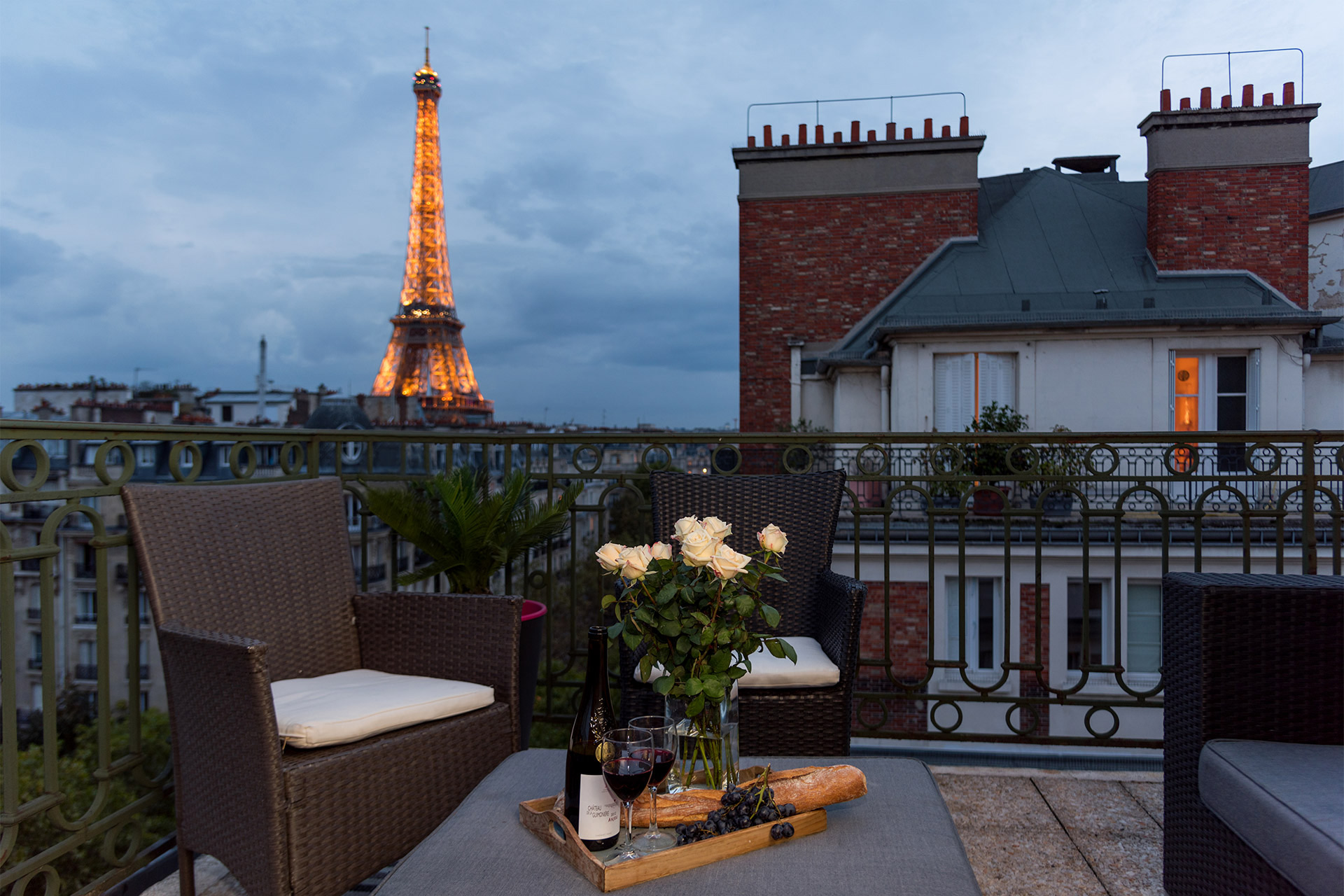 Amazing Eiffel view from the balcony of the Margaux vacation rental offered by Paris Perfect