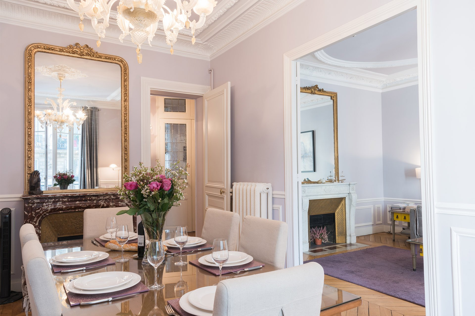 Dining table in the Maubert vacation rental offered by Paris Perfect
