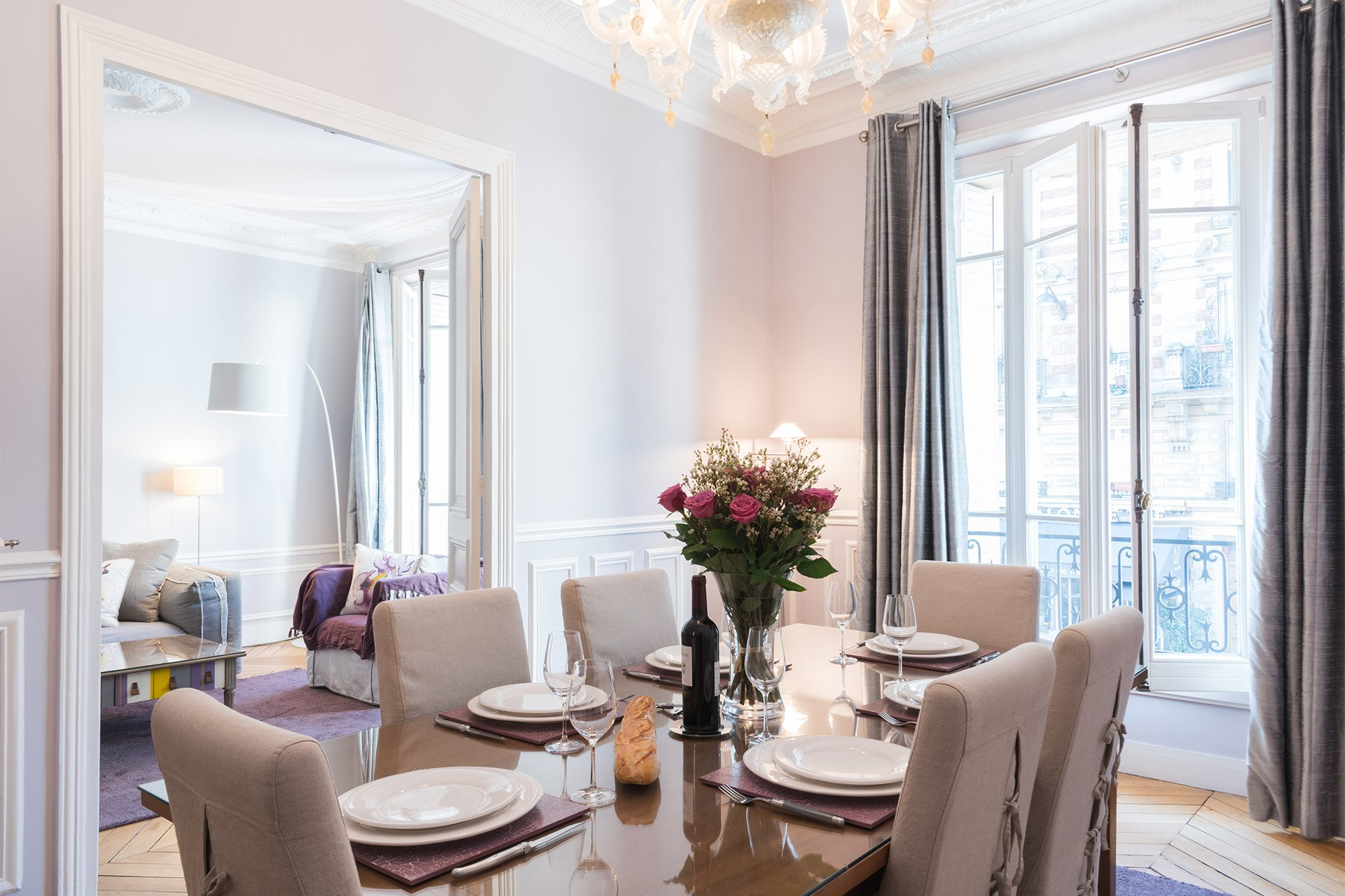 Light and open dining area of the Maubert vacation rental offered by Paris Perfect
