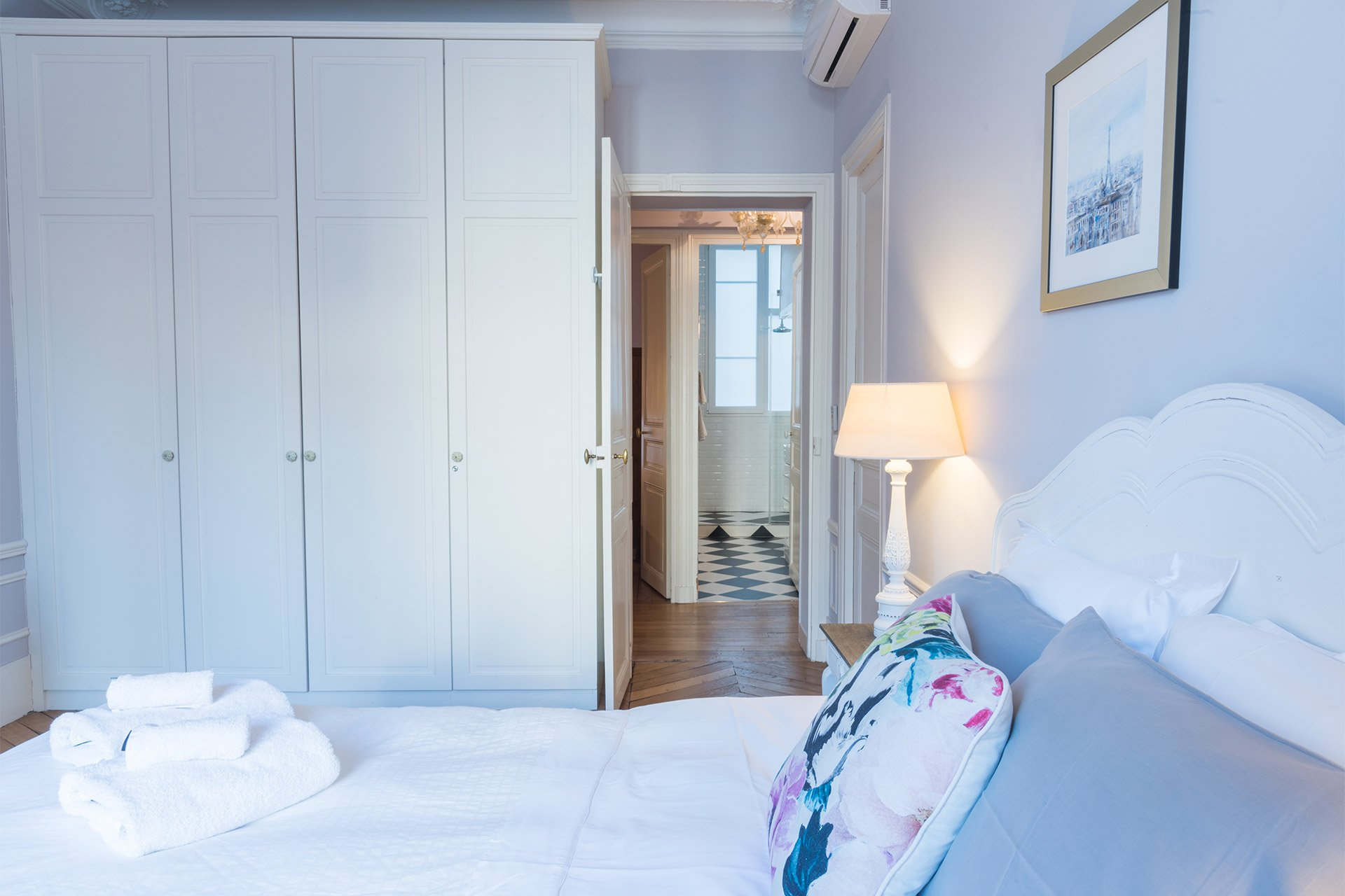Plenty of closet space to store your belongings in the Maubert vacation rental offered by Paris Perfect