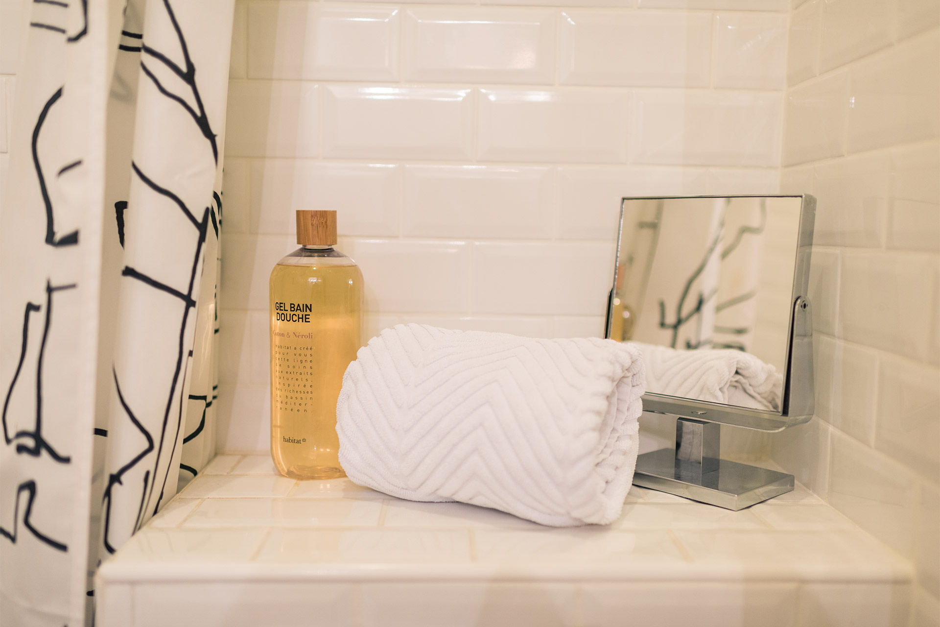 Fluffy towels, soaps and all the luxuries of home in the Maubert vacation rental offered by Paris Perfect