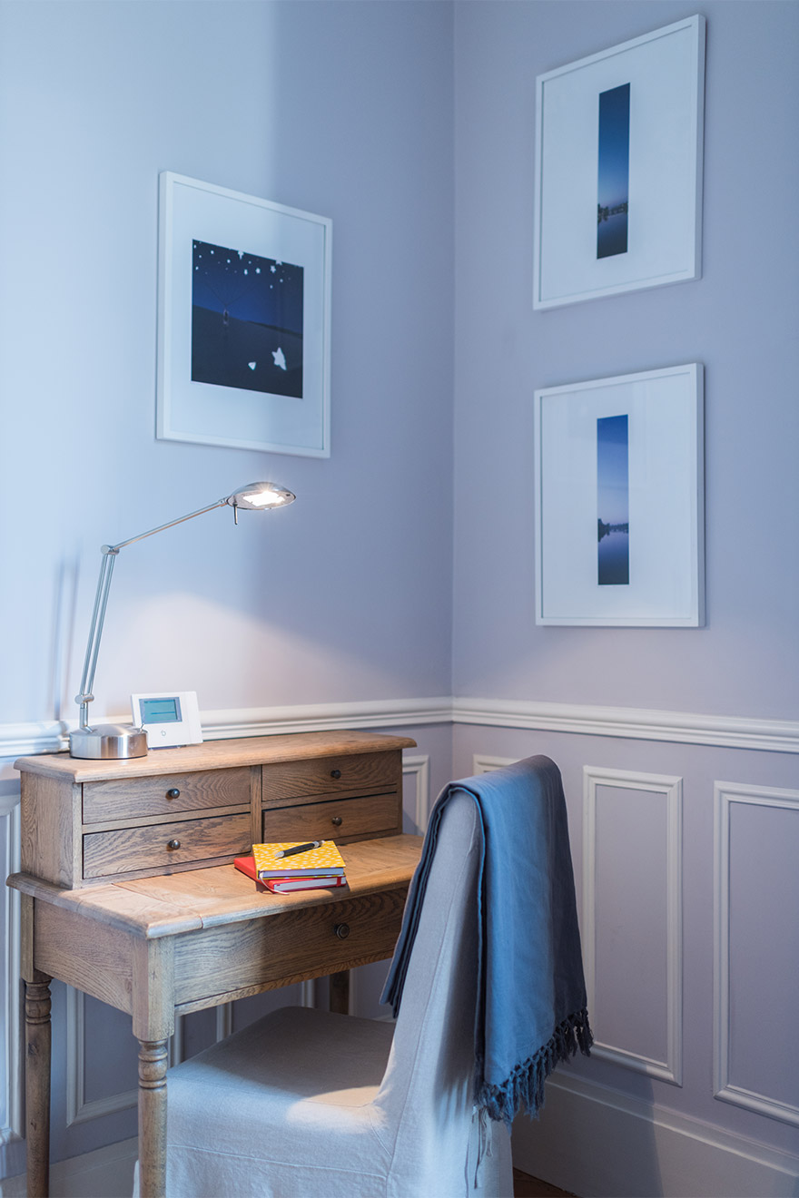 Antique oak desk in the Maubert vacation rental offered by Paris Perfect