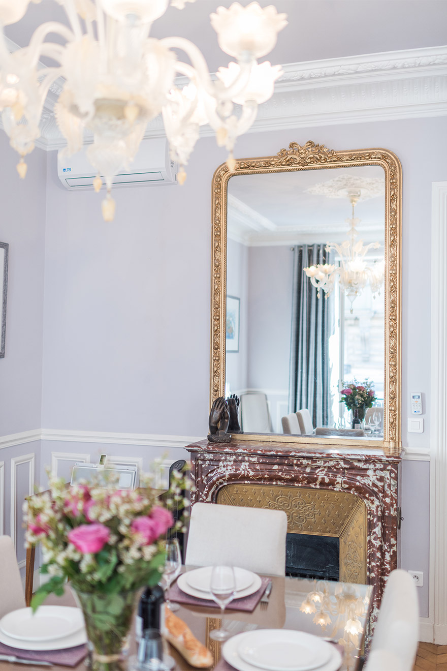 Parisian elegance in the dining room of the Maubert vacation rental offered by Paris Perfect
