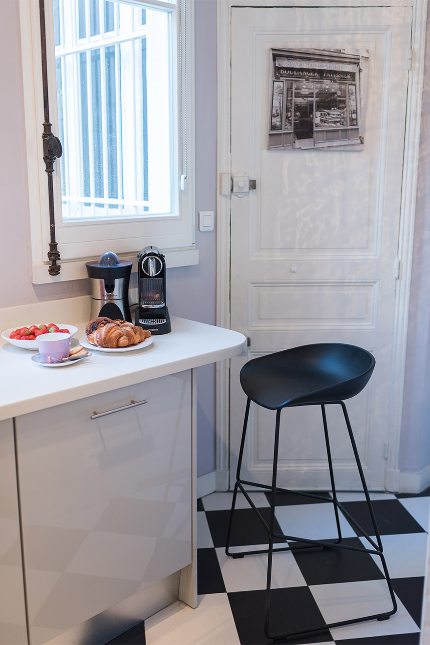 Enjoy breakfast in the Maubert vacation rental offered by Paris Perfect