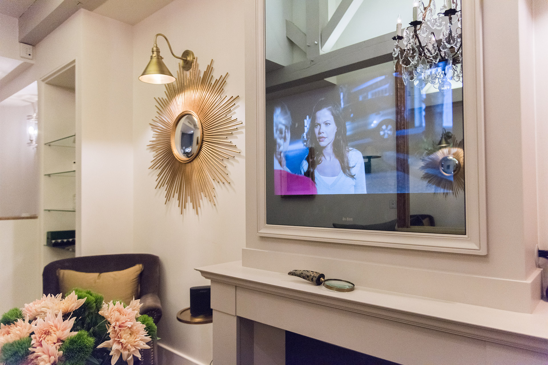 Intelligent design reveals the TV behind the mirror in the Monbazillac vacation rental offered by Paris Perfect